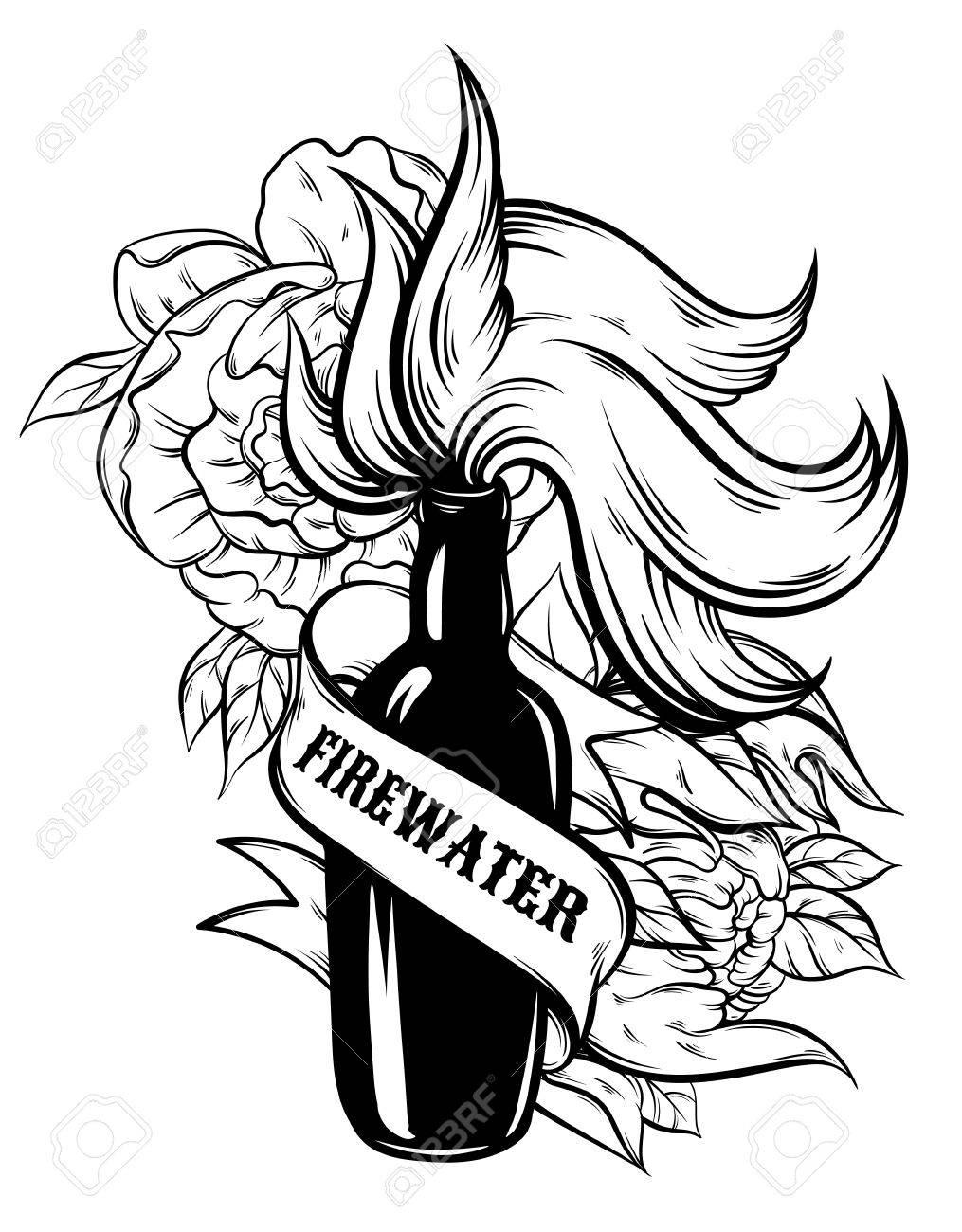 Vector Hand Illustration Von Feuerwasser Mit Blumen Und Band