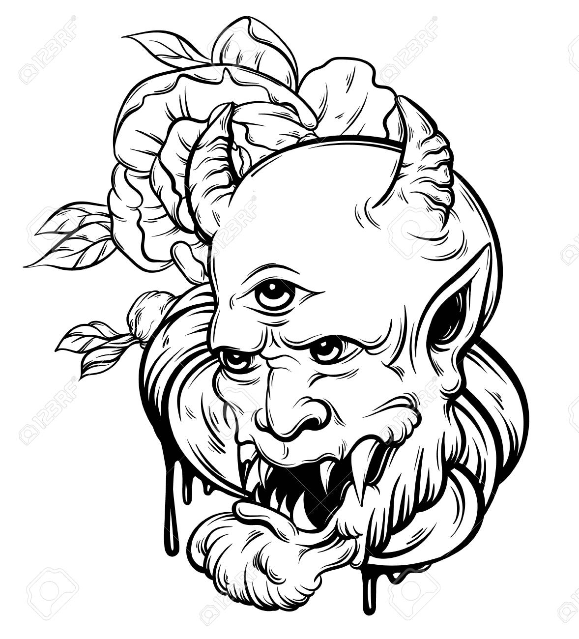 bef58d54 Vector - Vector hand drawn illustration of devil. Tattoo hand sketched  artwork with realistic flowers. Template for card, poster, banner, print  for t-shirt.