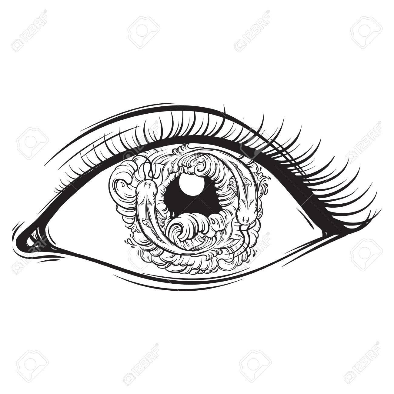 魚と瞳に波目のベクトル創造的なイラストは、手で描かれたスタイルを作っ