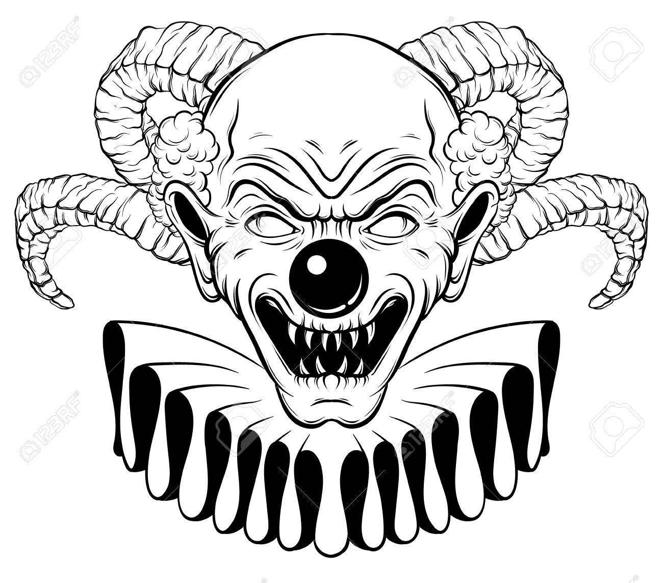 vector hand drawn illustration of angry clown with horns tattoo