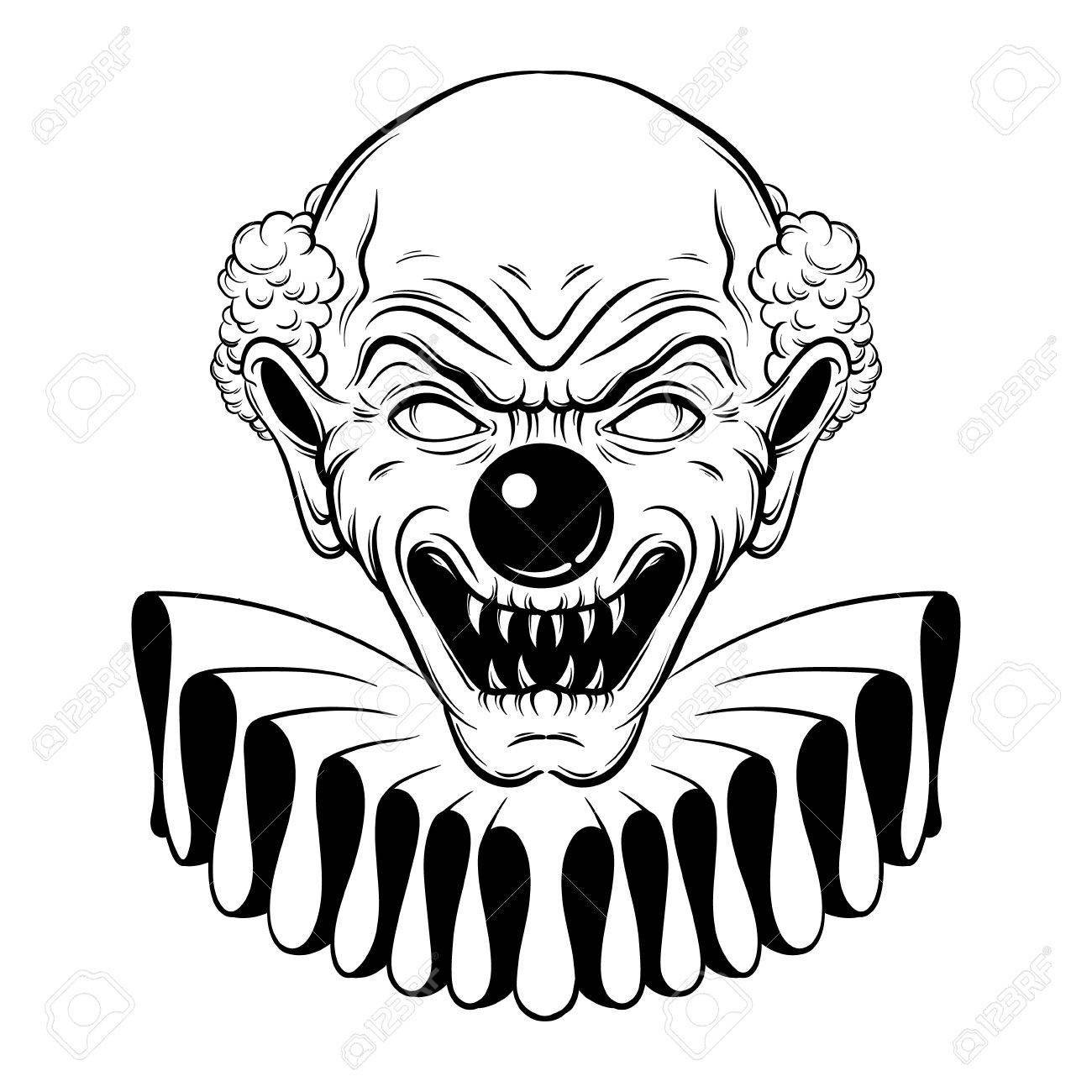 Vector Illustration Dessinee A La Main De Clown En Colere