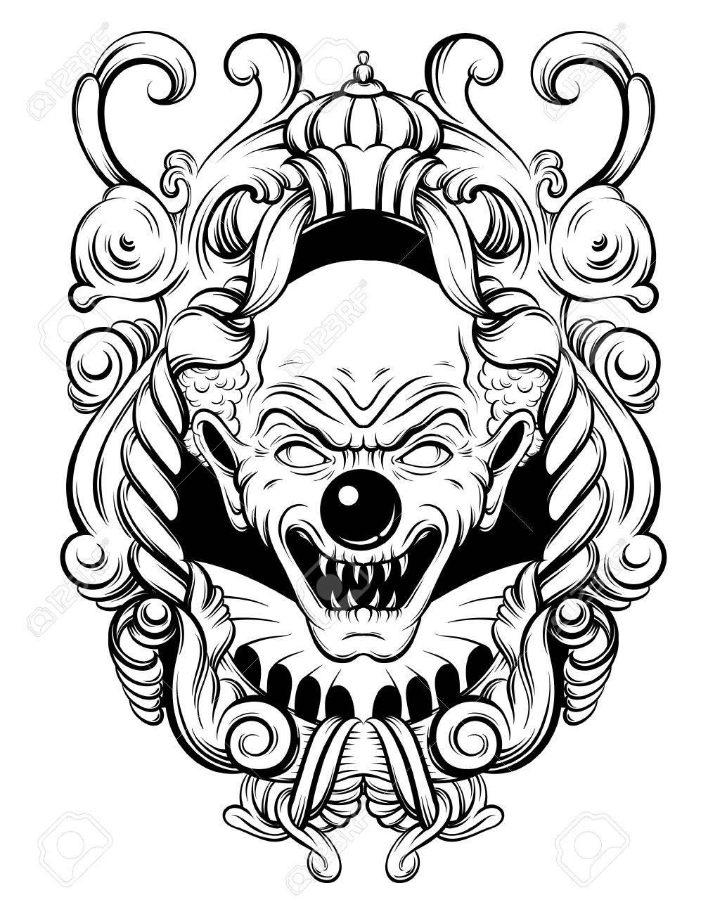 Vektor Hand Gezeichnet Illustration Der Wütenden Clown Im Barocken ...