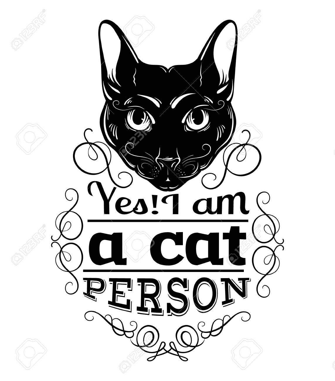 Cat Stock Quote Yes I Am A Cat Personquote Typographical Backgroundvector