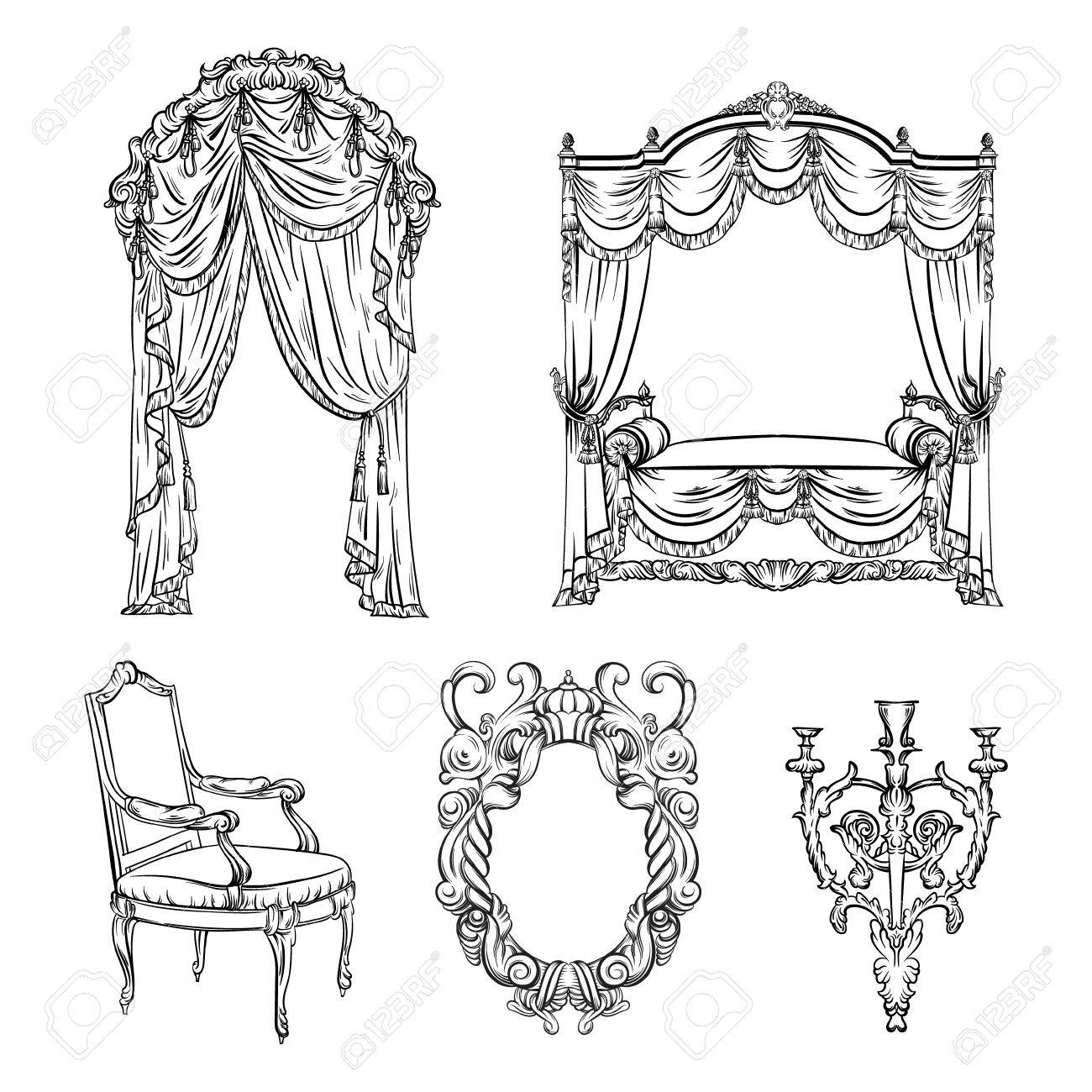 Vector Collection Of Baroque Furniture Made In Hand Drawn Style