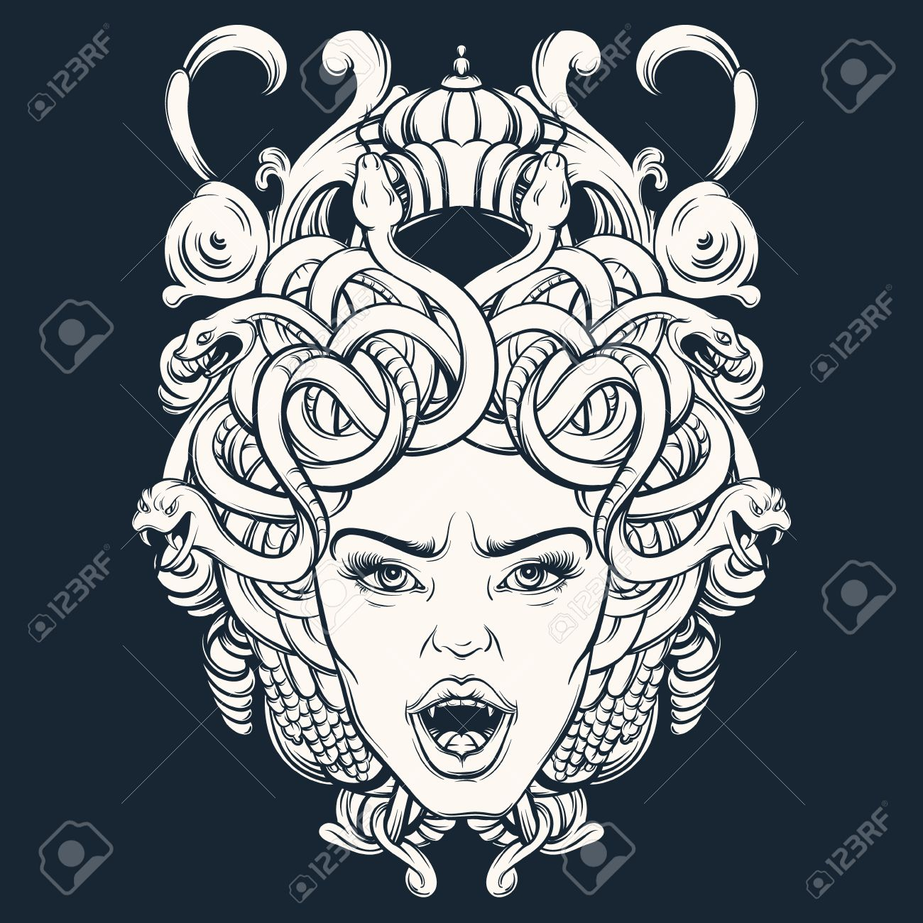 Vector Illustration Of Gorgone With Baroque Frame Made In Hand ...