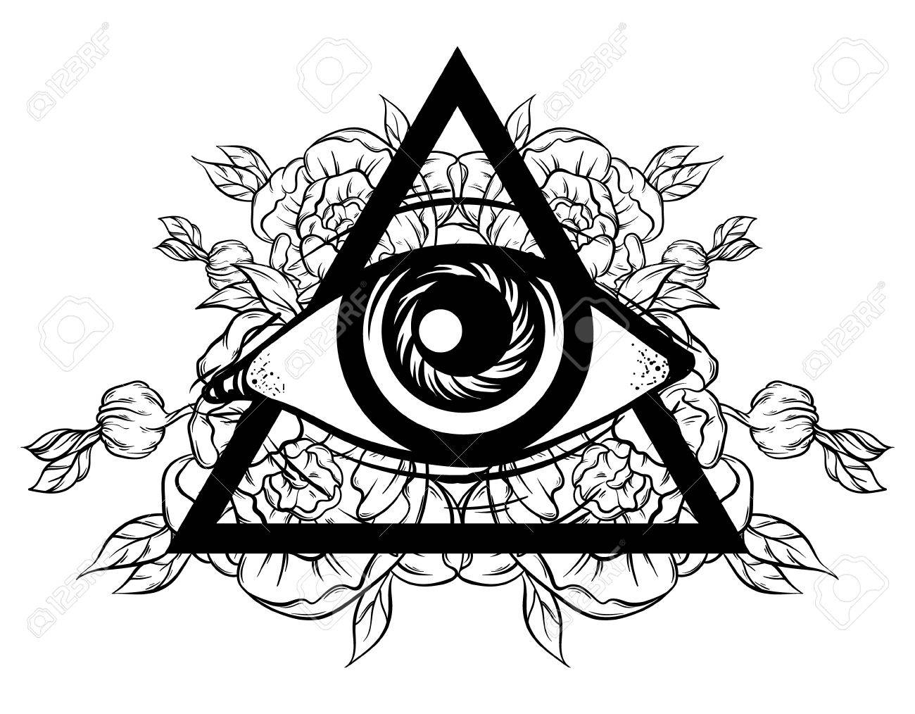 Vector Hand Sketched Illustration. All Seeing Eye Pyramid Symbol ...