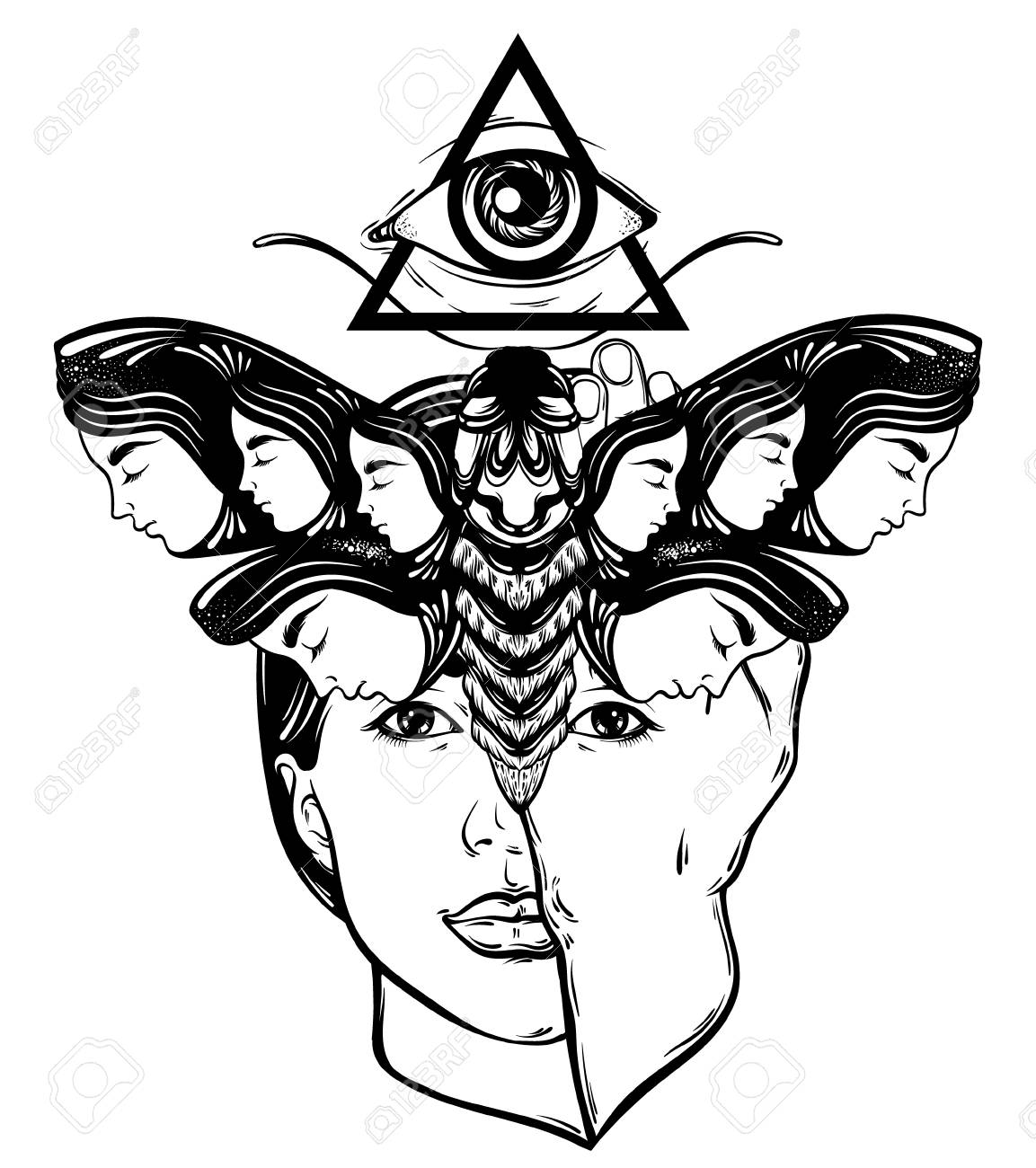 Vector Hand Drawn Illustration Of Moth With Female Faces On The