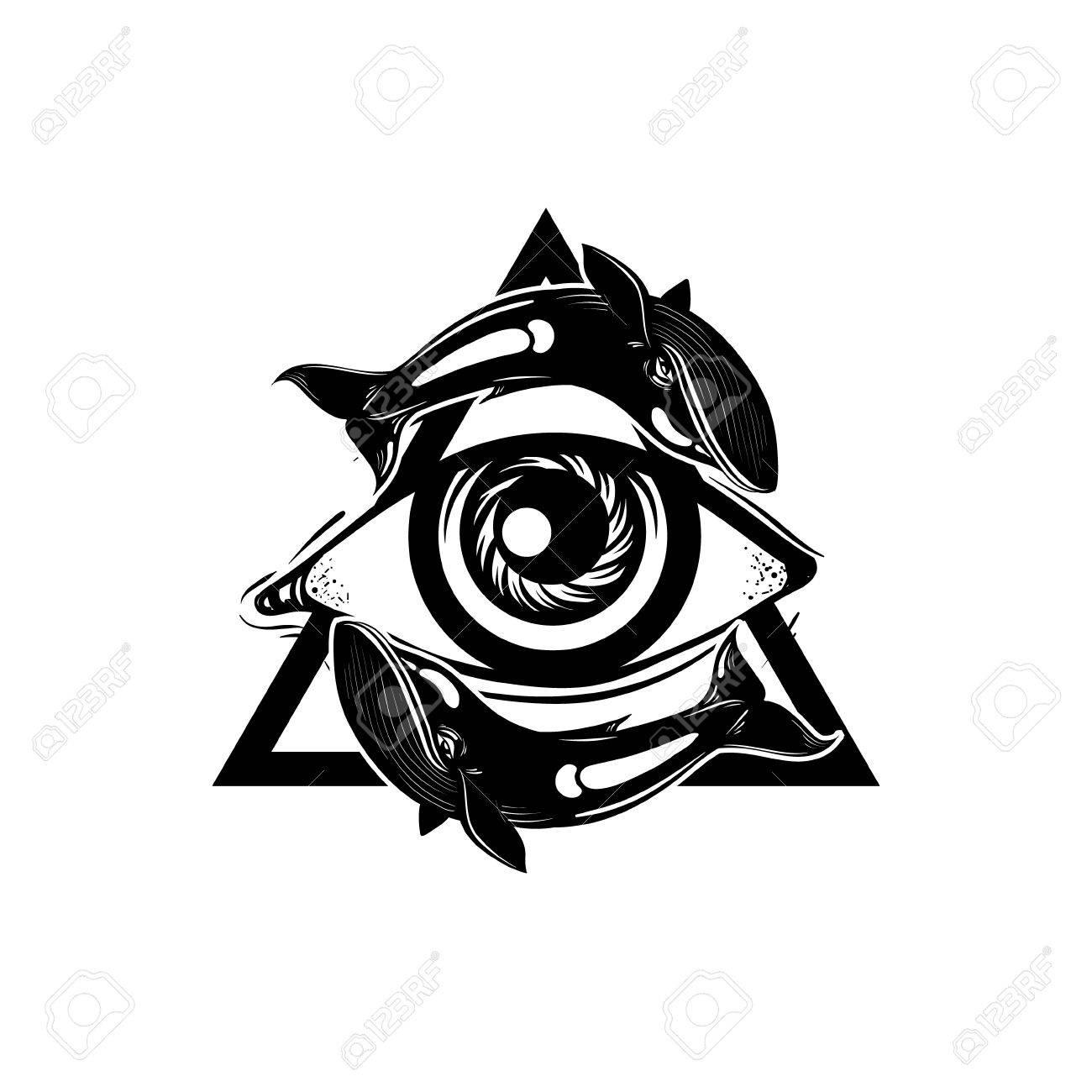 Vector Mano Esbozo Ilustración Todo El Símbolo De La Pirámide Del