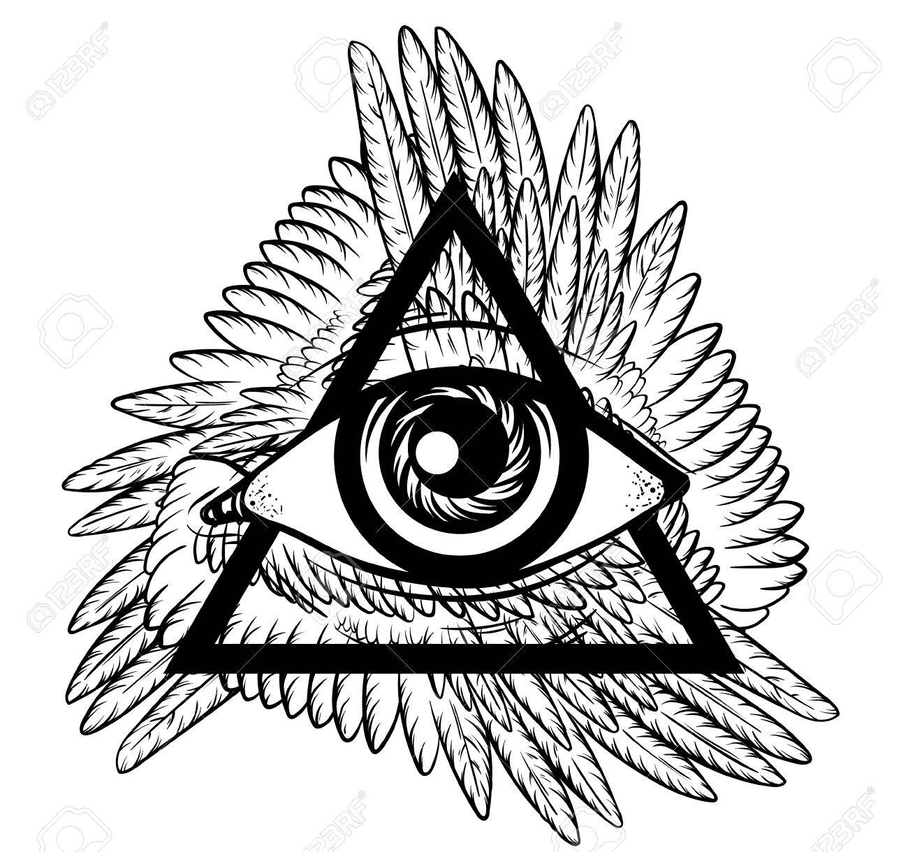 69297f143390a Vector - Vector hand sketched illustration. All seeing eye pyramid symbol  with wings. New World Order. Hand drawn Eye of Providence.