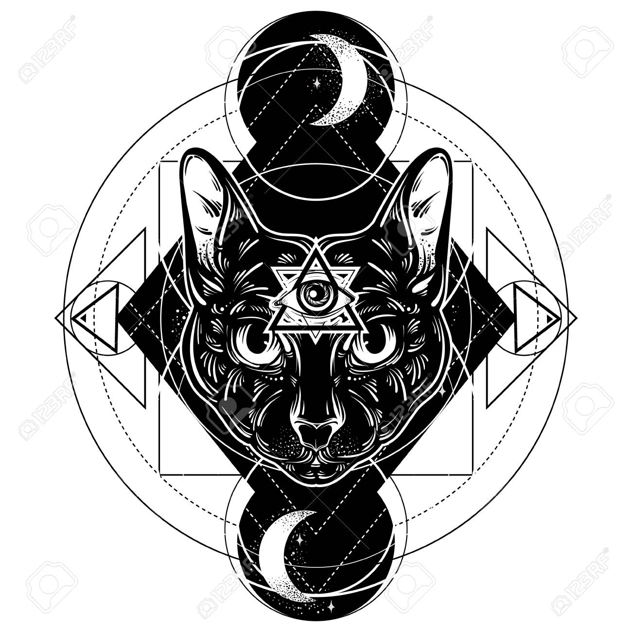 All Seeing Eye Pyramid Symbol Artwork With Portrait Of Mystical Elegant Cat Template For Card Poster Banner Print T Shirt