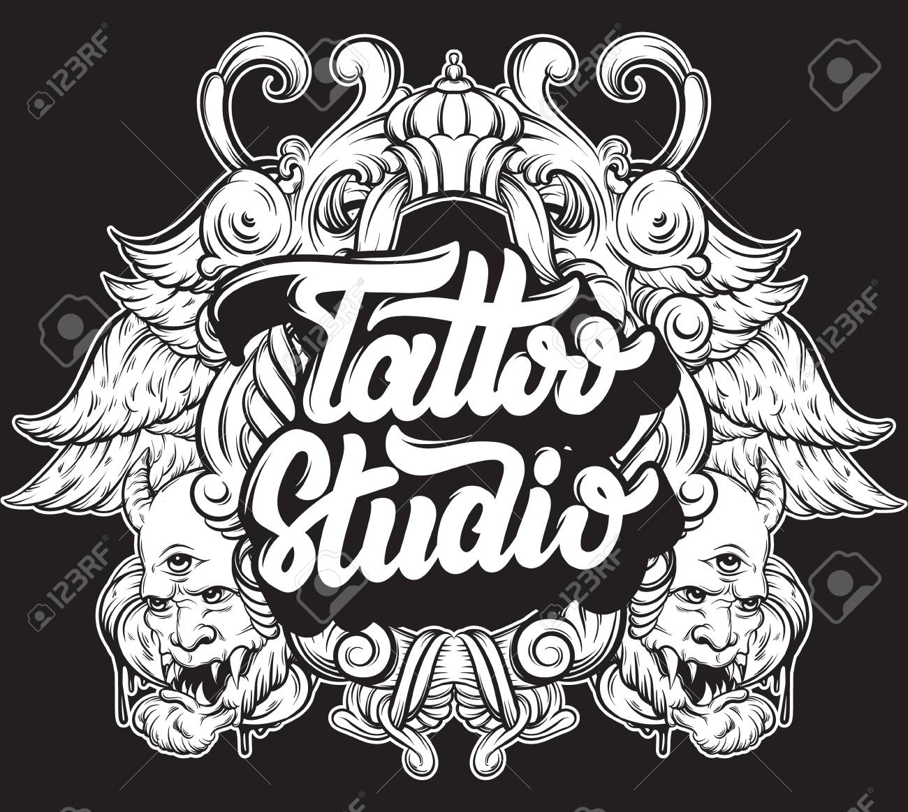 Tattoo Studio Vector Handwritten Trendy Lettering With Hand Drawn Illustration Of Daemons Baroque Frame