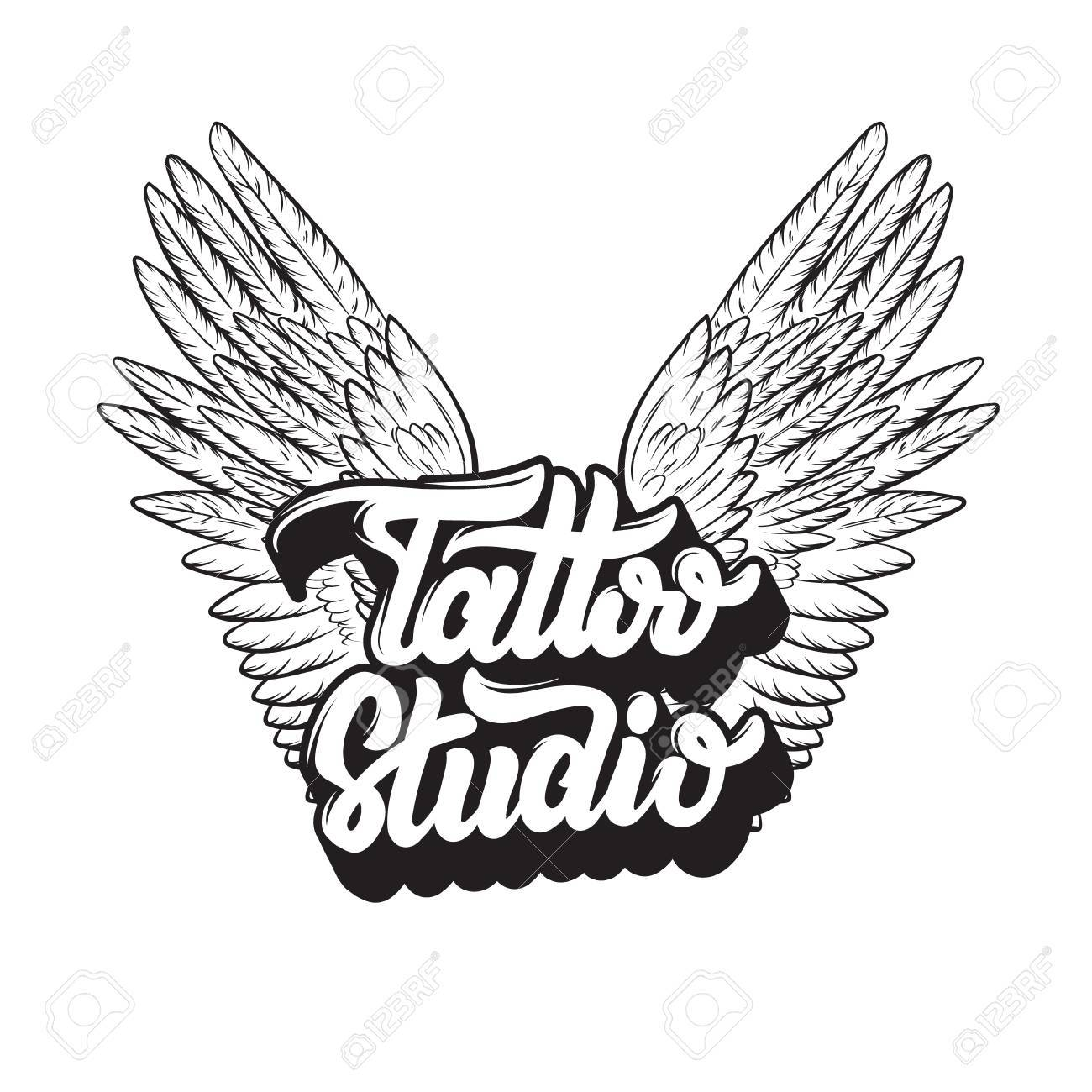 Tattoo Studio Vector Handwritten Trendy Lettering With Hand Drawn Illustration Of Wings Template For