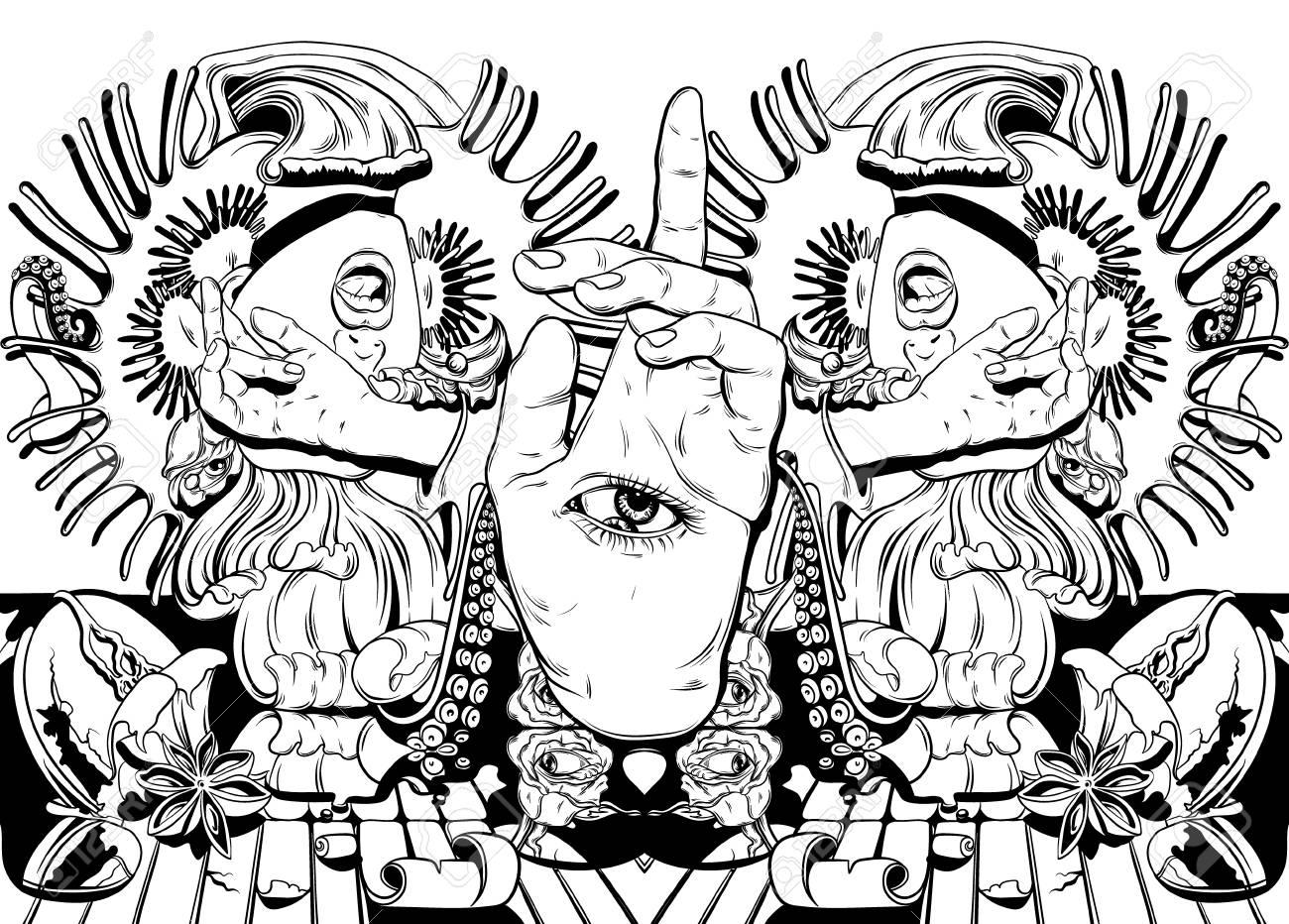 Ilustración De Dibujado A Mano De Vector Con Chica Gritando ...