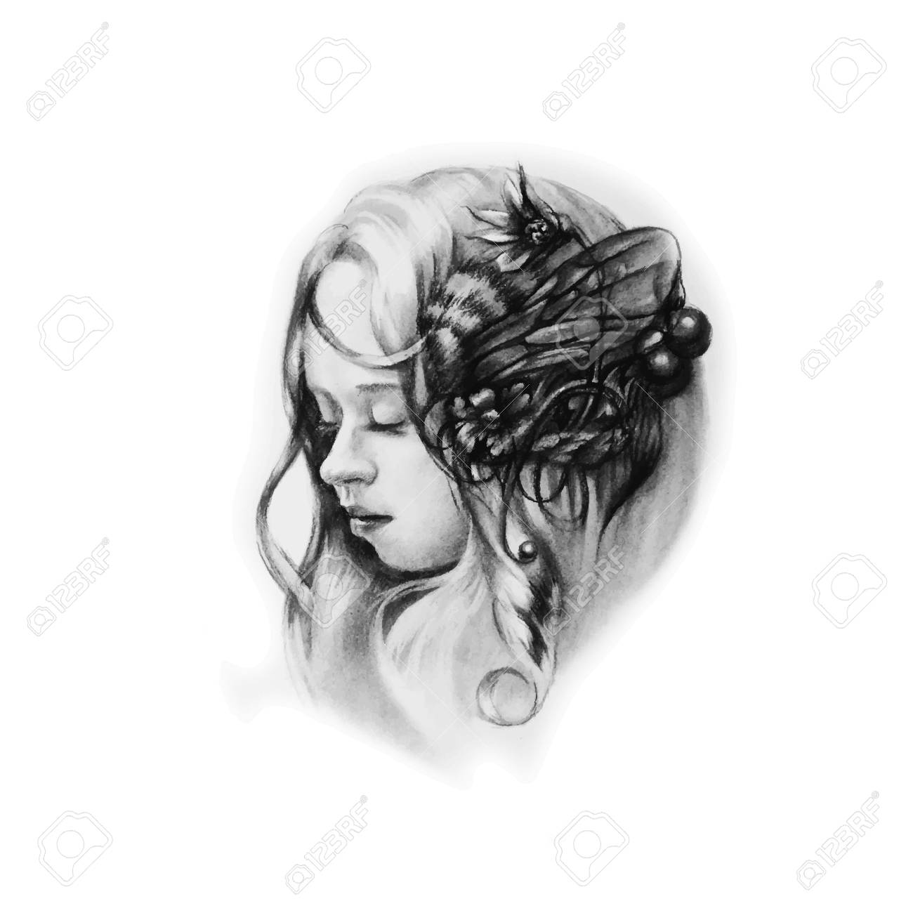 Vector Illustration Of Young Pretty Girl With Flowers And Wings