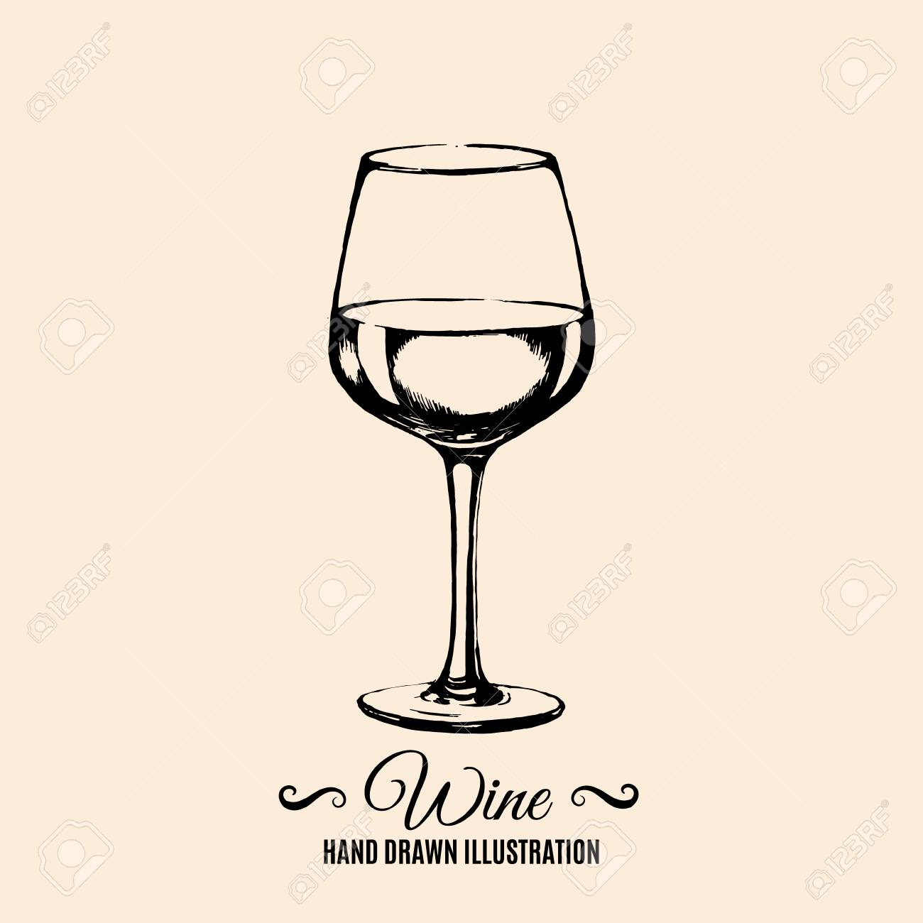 Vector Hand Drawn Illustration Of Wine Glass Template For Card Royalty Free Cliparts Vectors And Stock Illustration Image 97898720