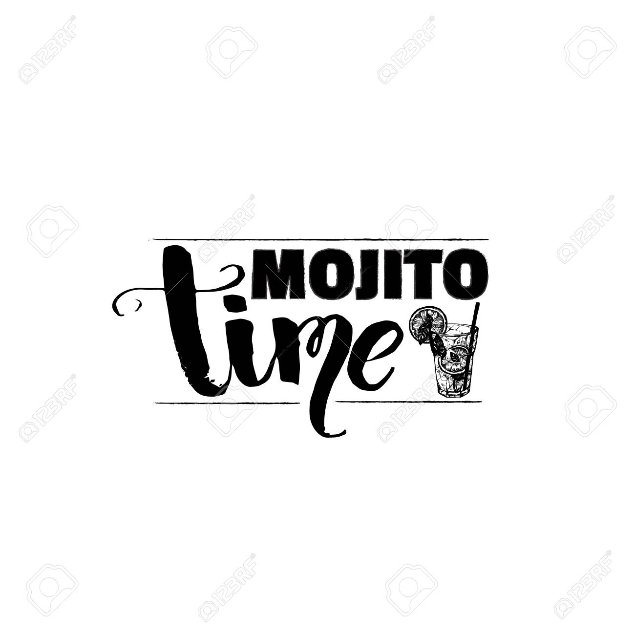 Mojito Time Glass Isolated Vector Illustration Of Alcoholic Cocktail Royalty Free Cliparts Vectors And Stock Illustration Image 96462490