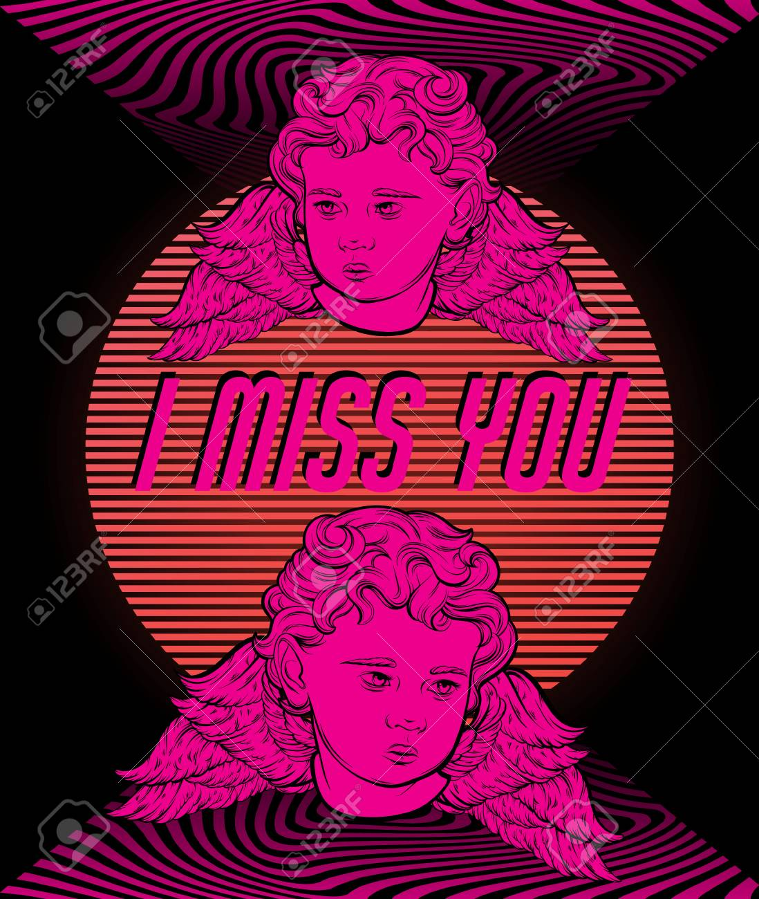 i miss you vector poster with hand drawn illustration of cupids