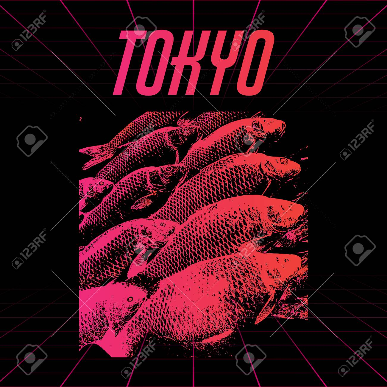 tokyo vector poster with hand drawn illustration of fishes made