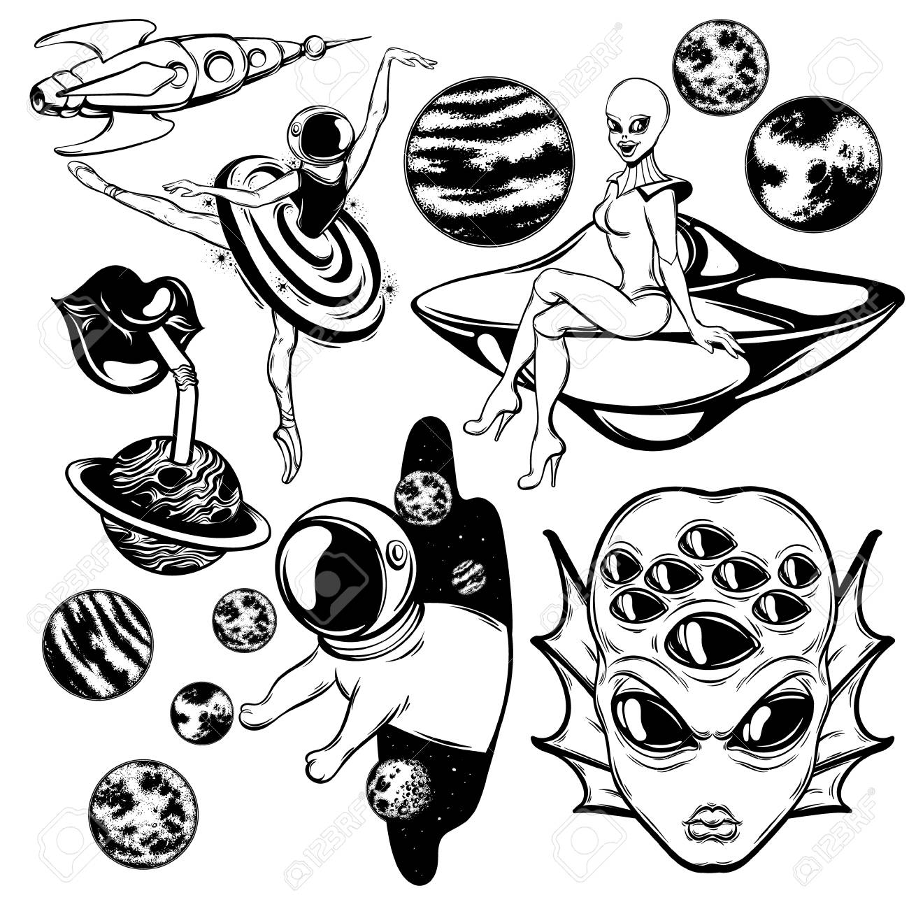 Vector Set Of Hand Drawn Illustrations Of Ballerina Flying Saucer Royalty Free Cliparts Vectors And Stock Illustration Image 113007625