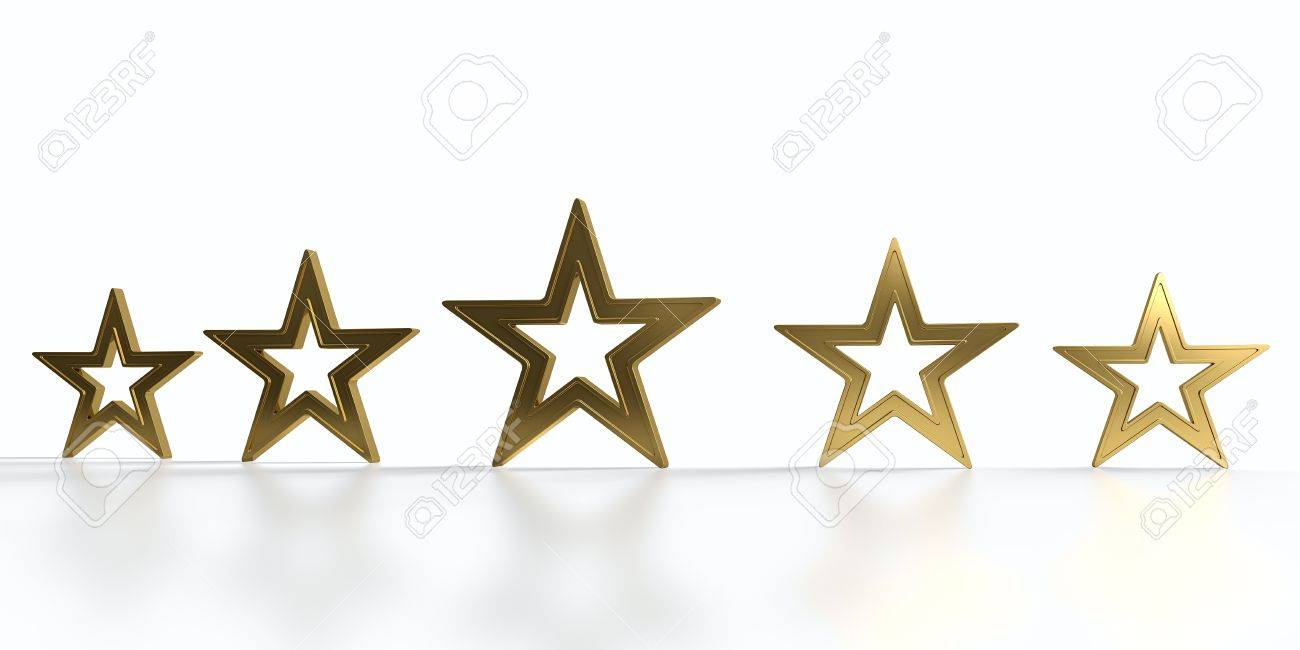 Five golden stars isolated on white background Stock Photo - 12851734