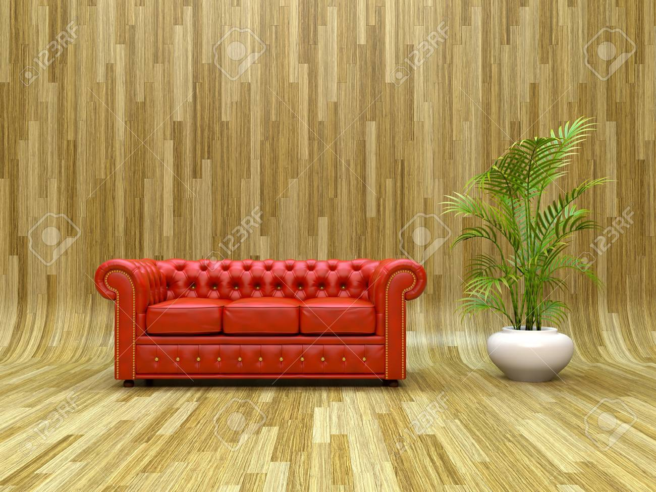 Red Classic Leather Sofa On Curved Parquet Stock Photo   12851741