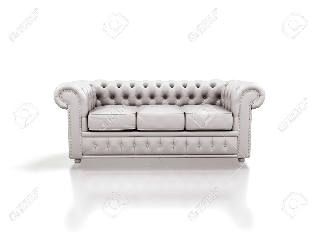 White Leather Sofa Isolated White Background Stock