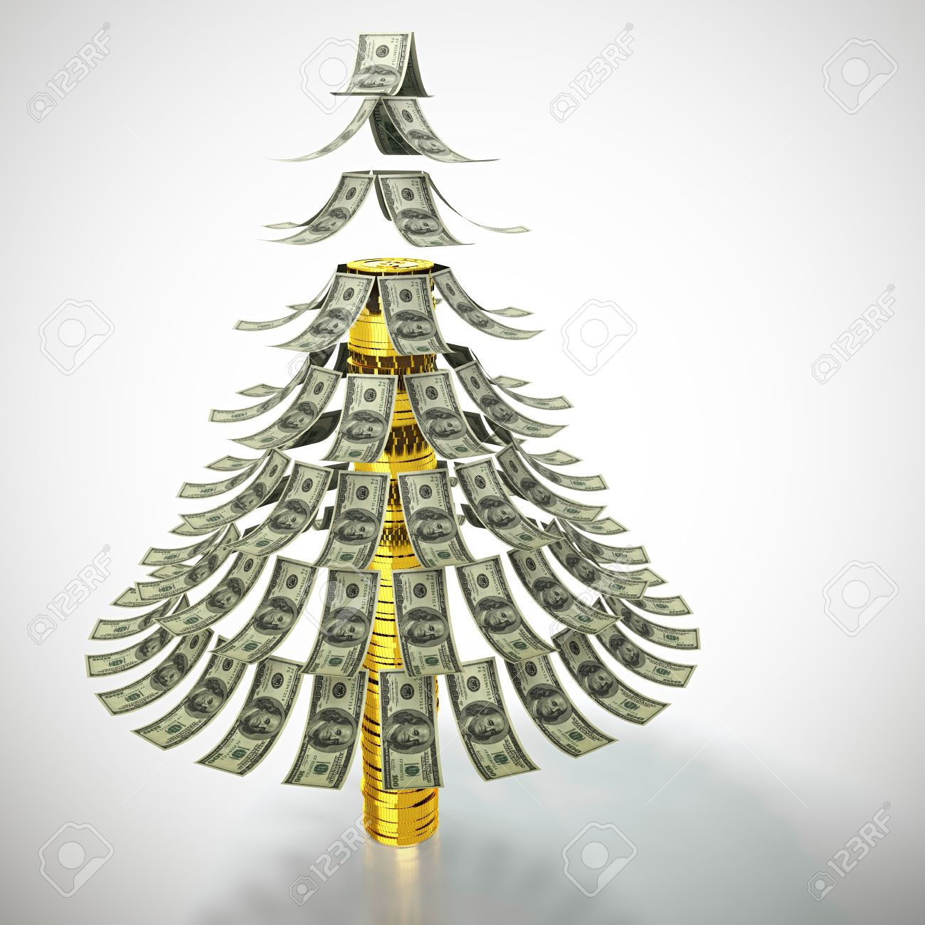 Money tree made of dollar bills and with trunk made of golden coins Stock Photo - 13514460