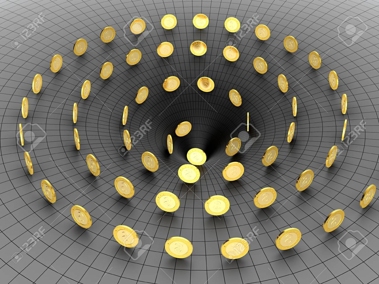 Golden coins falling in the black hole Stock Photo - 13516050