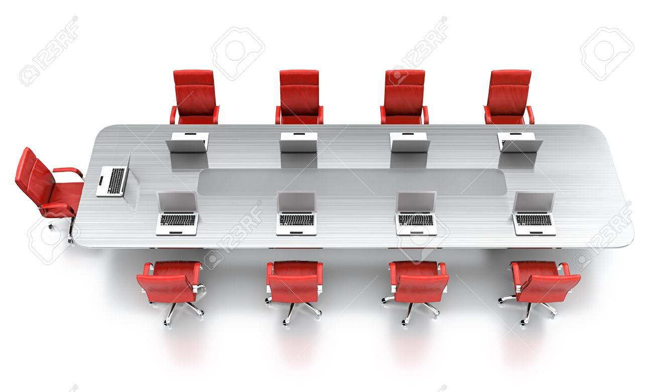 Red conference room chairs - 3d Render Of Conference Table With Red Leather Chairs Stock Photo 13515812
