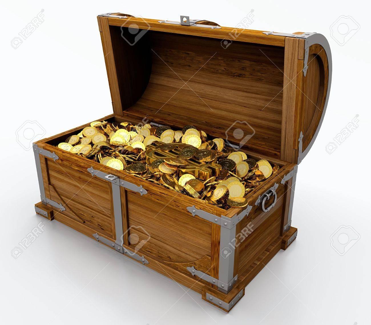 Treasure chest full of golden coins on white background Stock Photo - 13748045