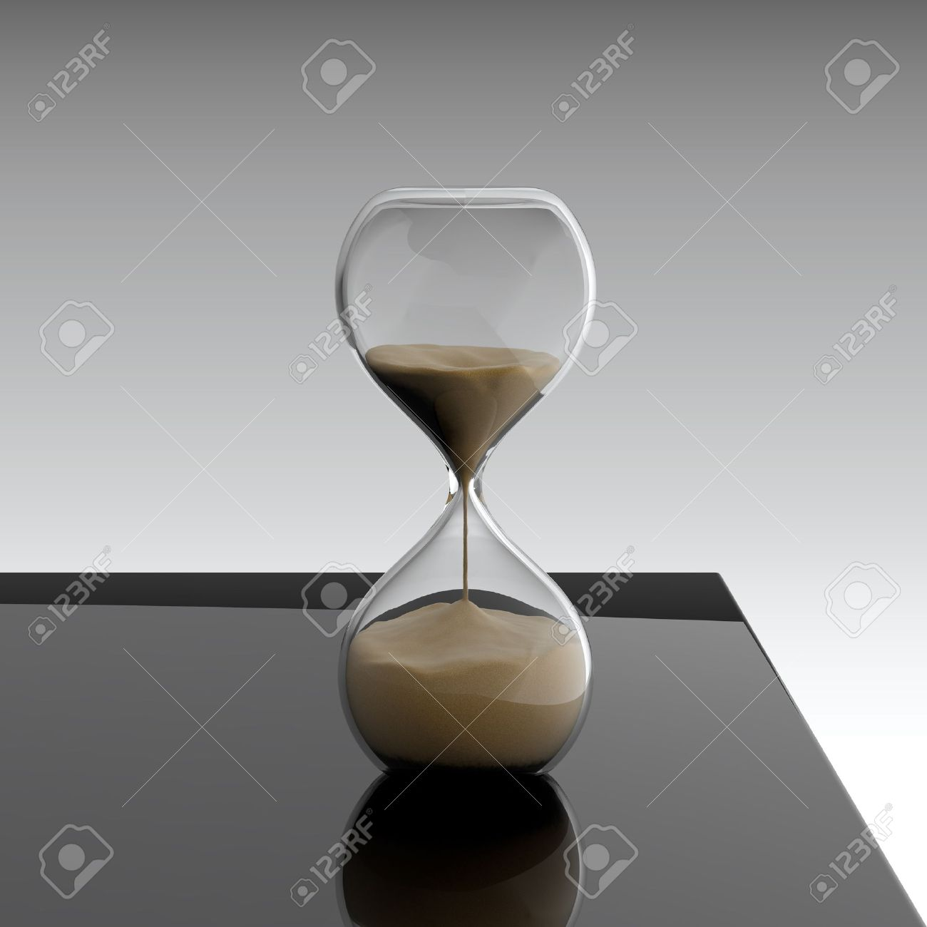 3D render of hourglass on black table Stock Photo - 14095421