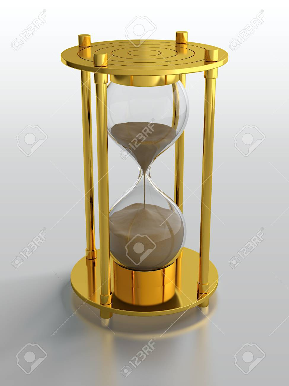 3D render of golden hourglass on grey background Stock Photo - 14095423
