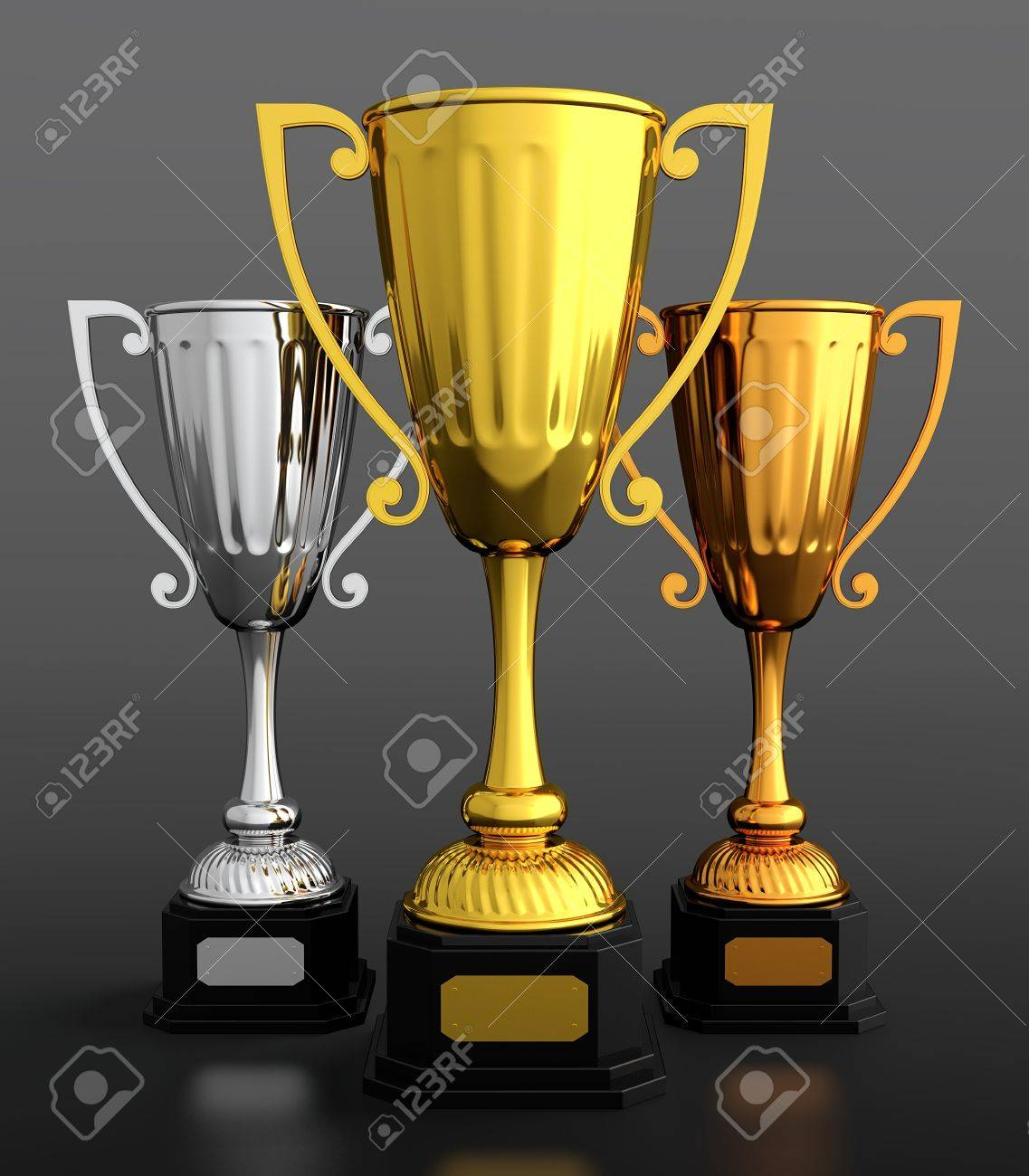 3D Render Of Gold Silver And Bronze Trophy Cups On Black Background Stock Photo