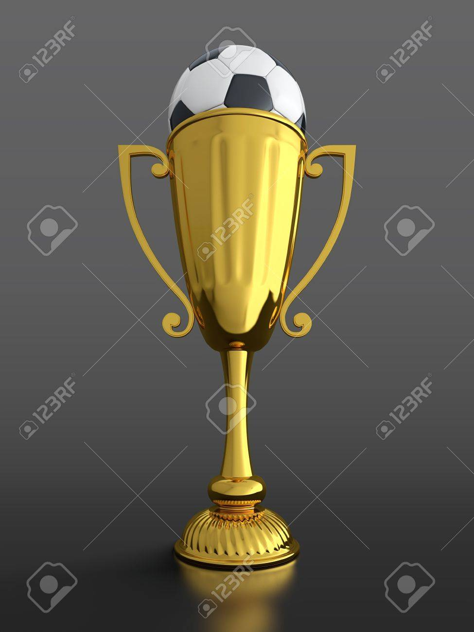 3D Render Of Gold Trophy Cup With Soccer Ball On Black Background Stock Photo