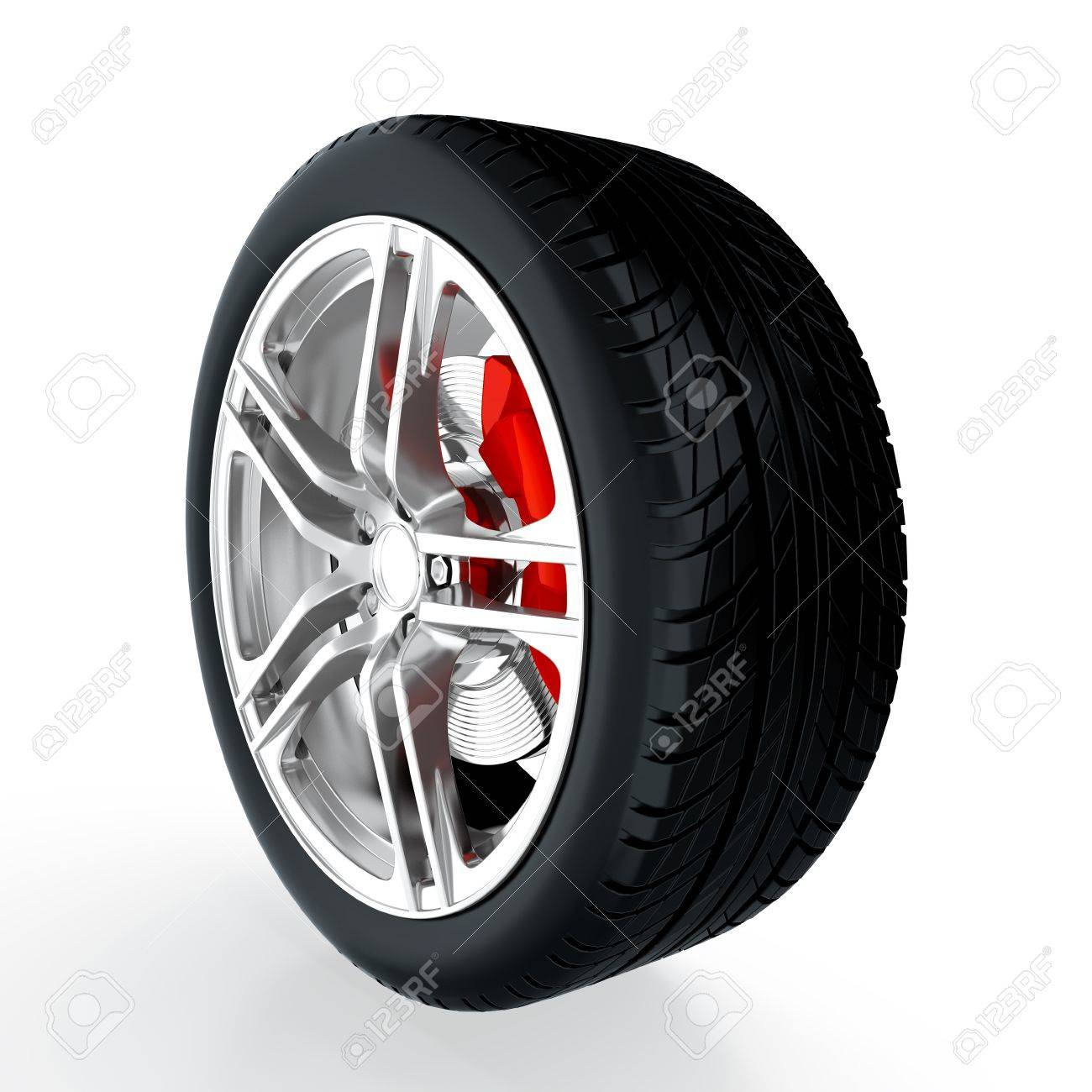 3D render of car wheel on white background Stock Photo - 14095432