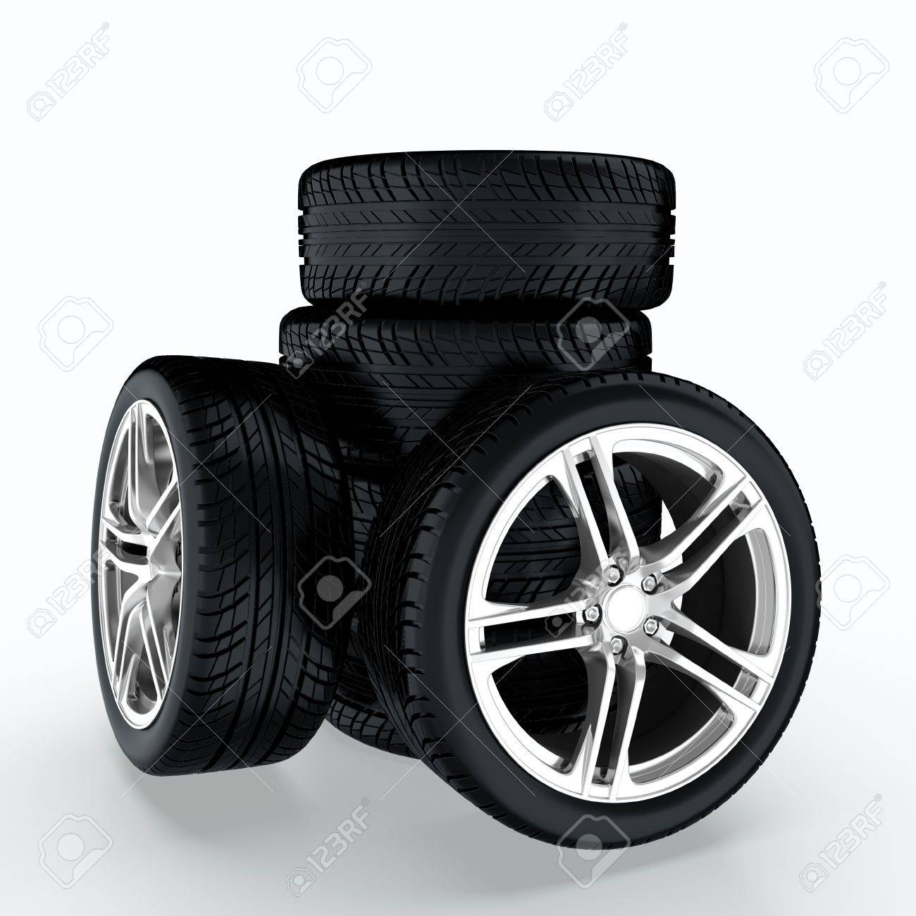 3D render of car wheels stack on white background Stock Photo - 14095463