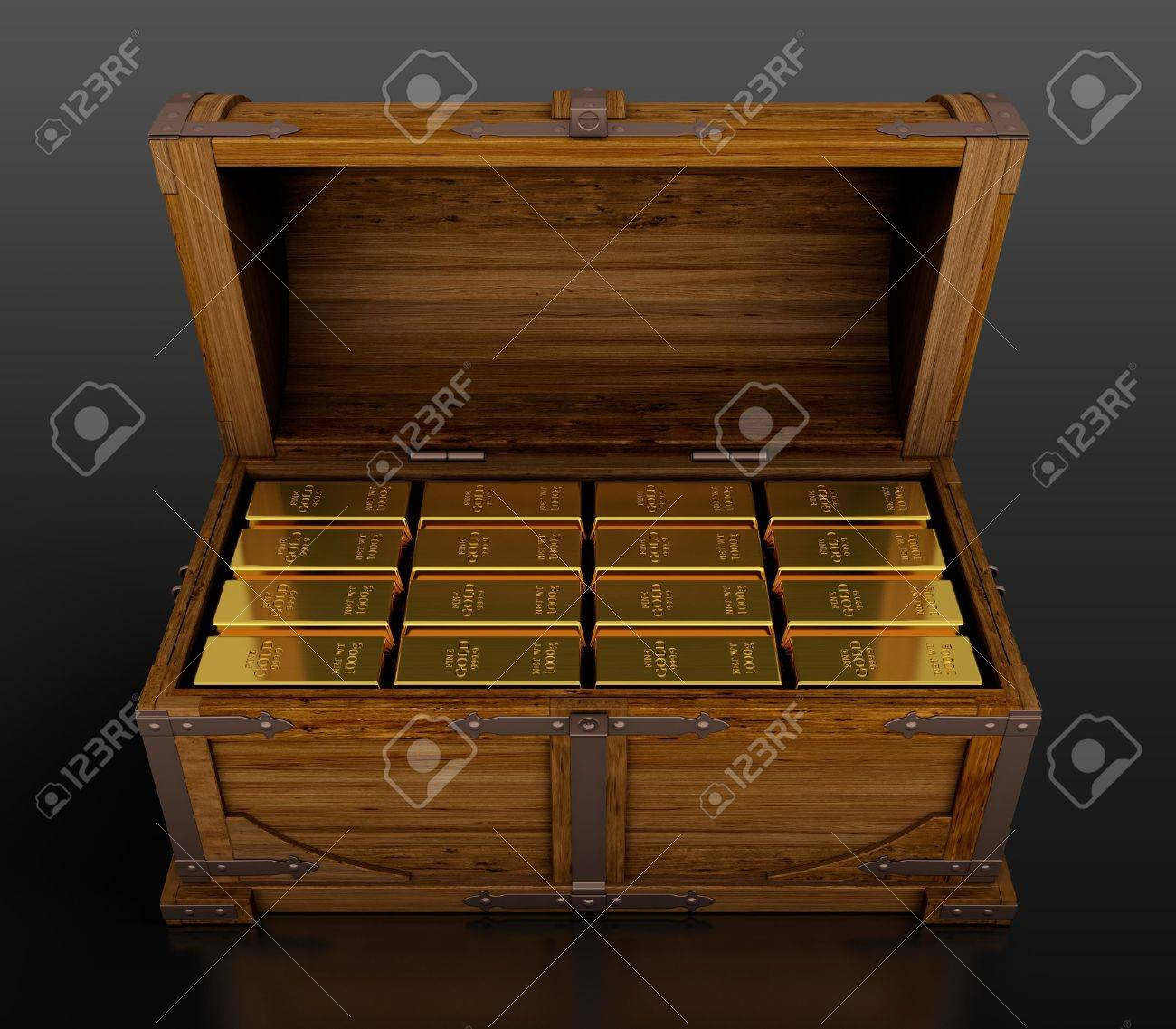 treasure chest full of gold bars on black background stock photo