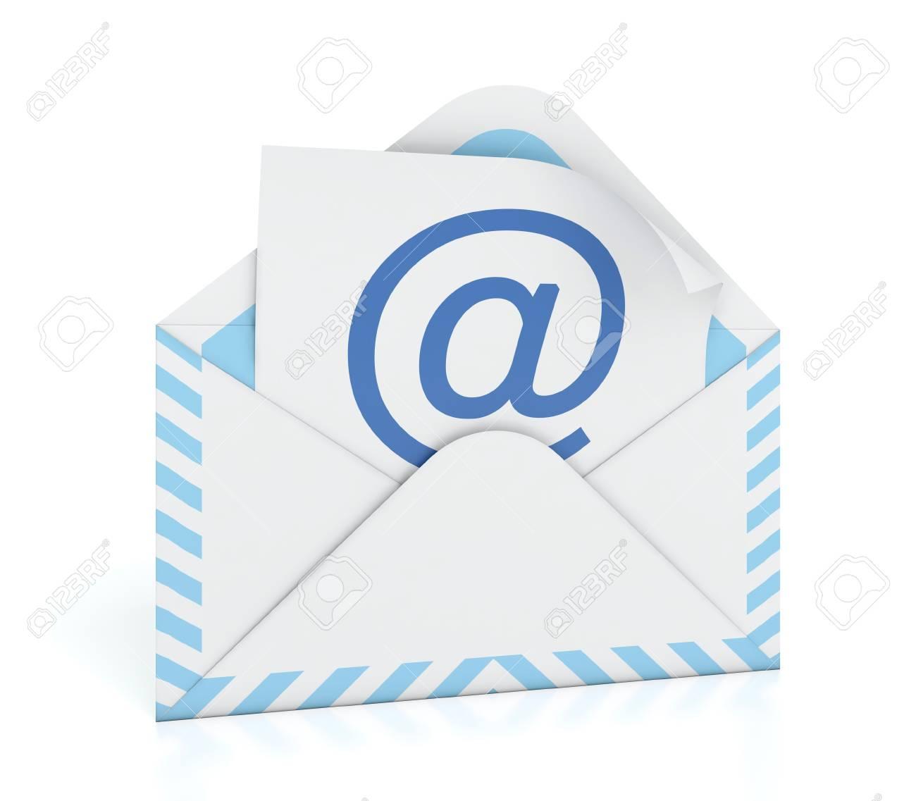 3D illustration of e-mail envelope on white background Stock Illustration - 14486833