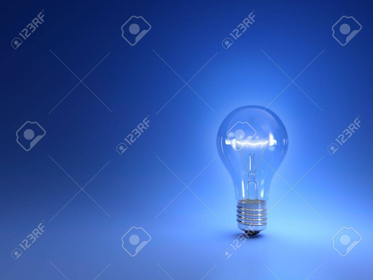 One simple glowing light bulb isolated on blue background Stock Photo - 14486845