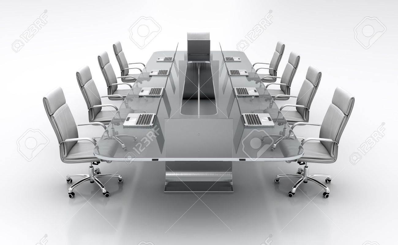 Hervorragend 3D Render Der Konferenztisch Aus Glas Mit Weißen Ledersesseln  BU79