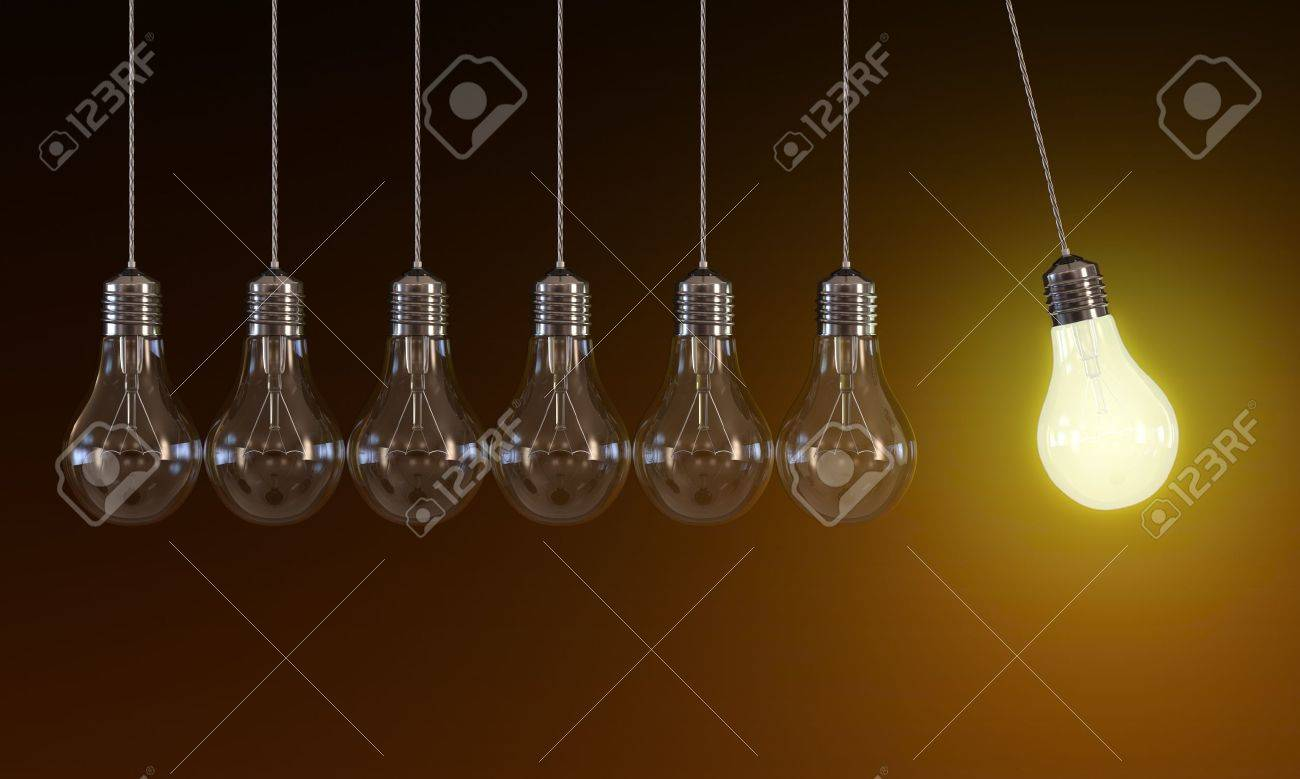 3d of hanging light bulbs in perpetual motion with one glowing light bulb on orange