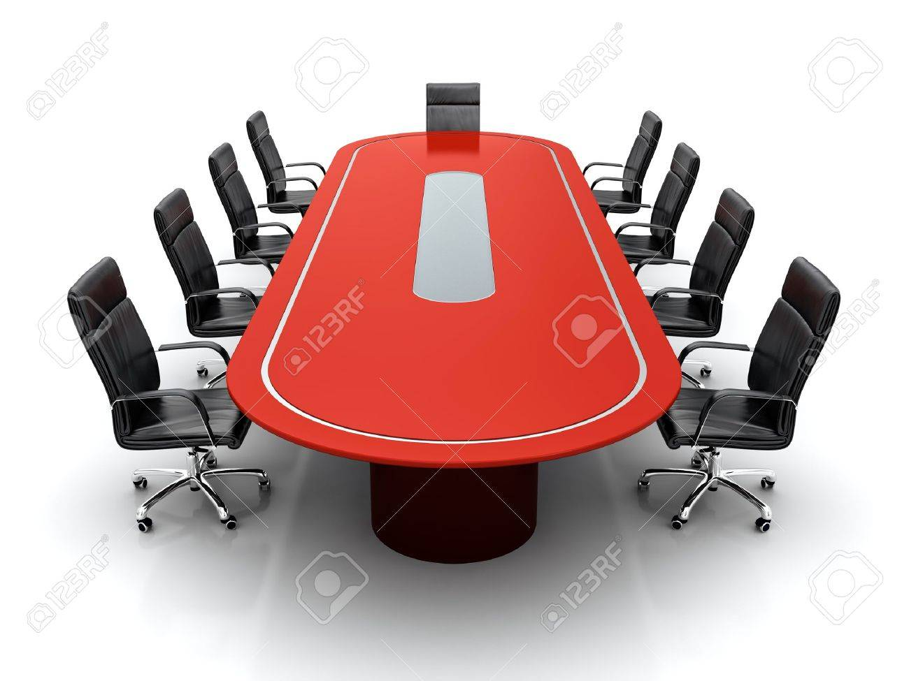Red conference room chairs - 3d Render Of Red Conference Table With Black Leather Chairs On White Background Stock Photo
