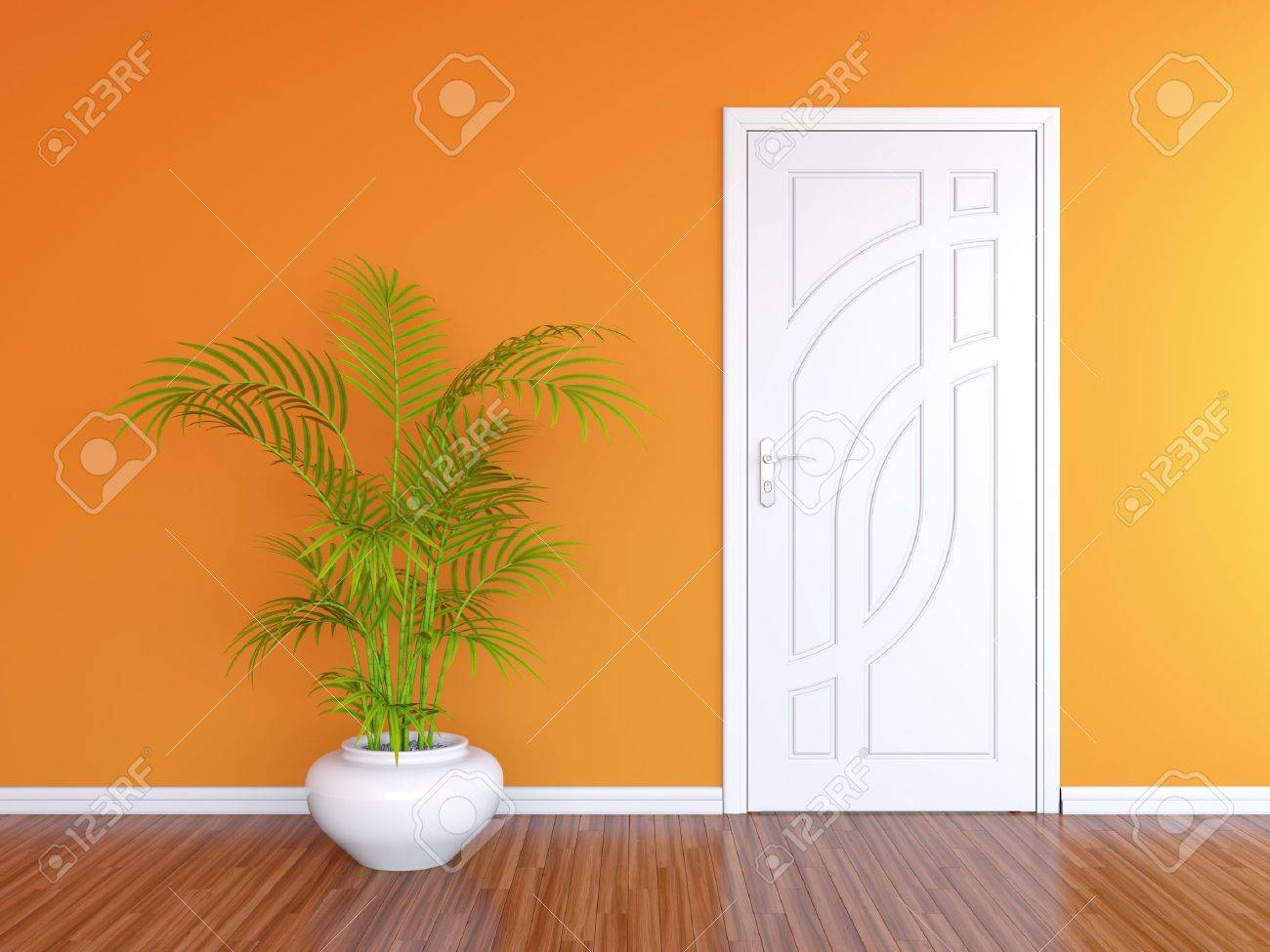 3D render of white door in orange wall and decorative plant in white vase Stock Photo - 14517202