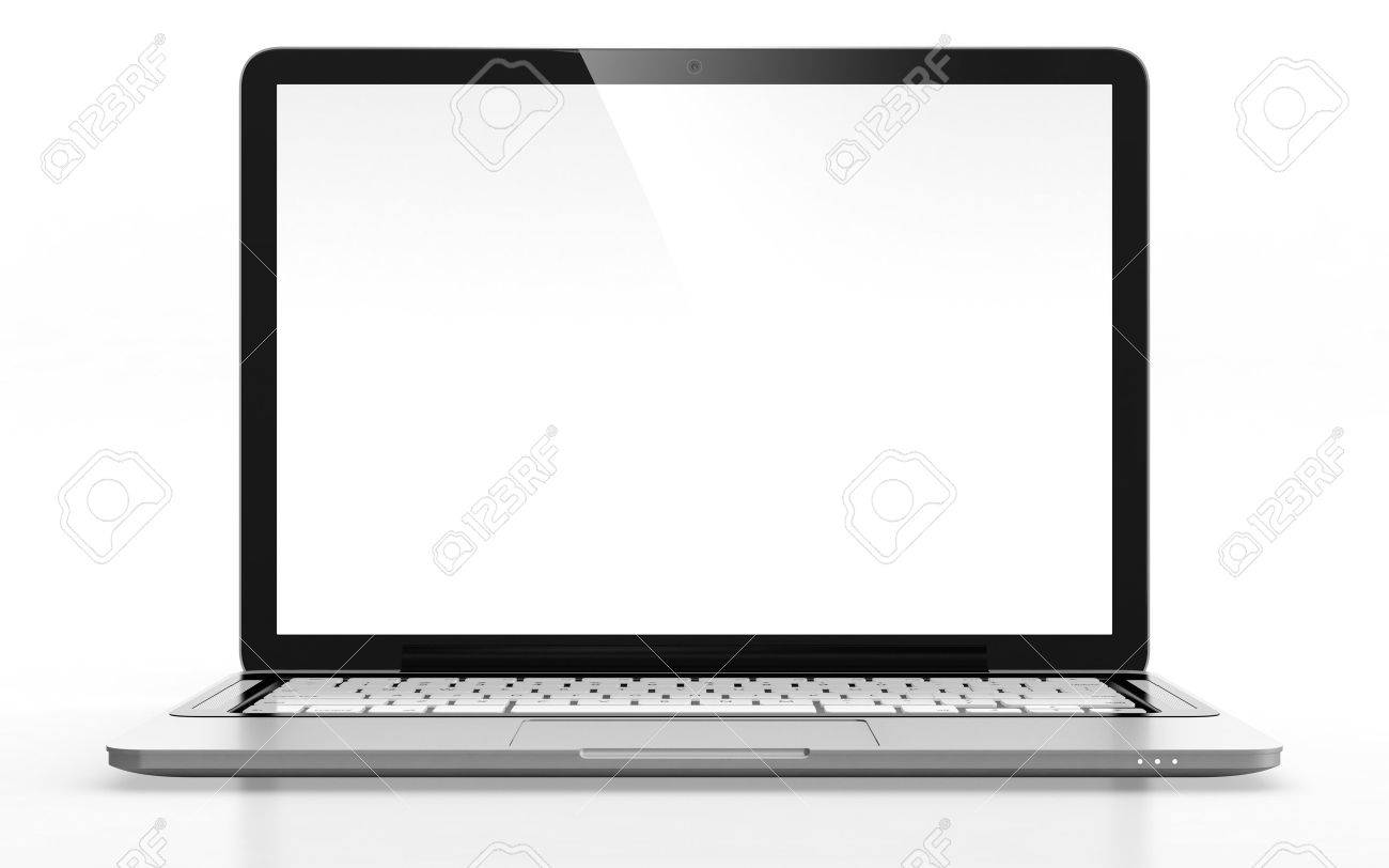 3D image of modern laptop with blank screen isolated on white - 14830876