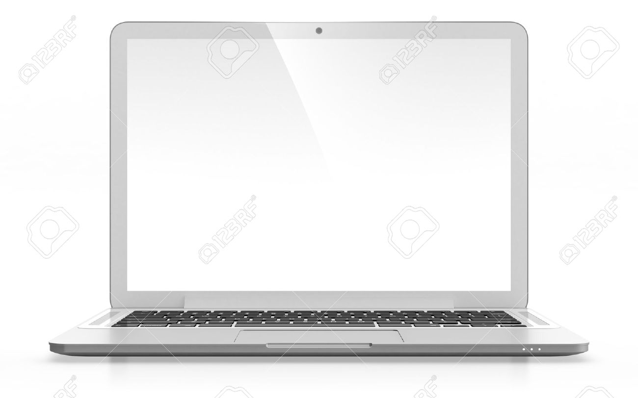 3d image of modern laptop with blank screen isolated on white stock