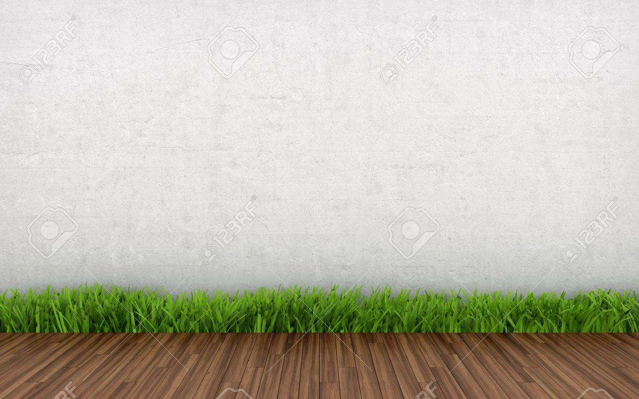 3D illustration of interior with white wall grass and parquet Stock Illustration - 14952173