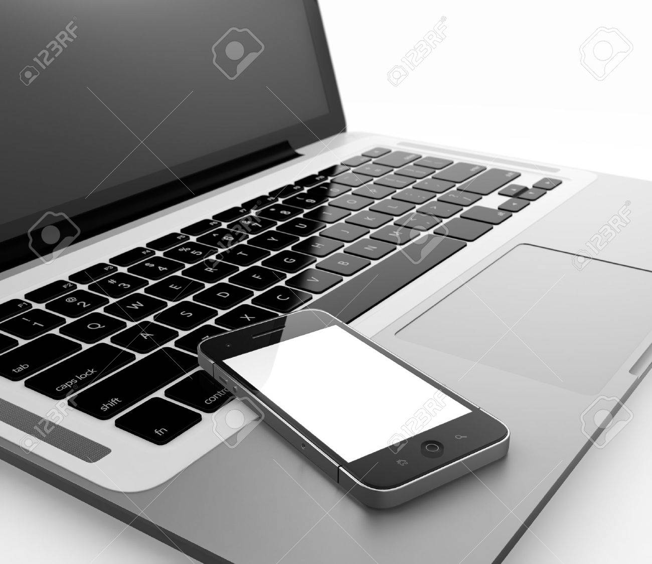 3D illustration of laptop and smartphone isolated on white background Stock Illustration - 15648436