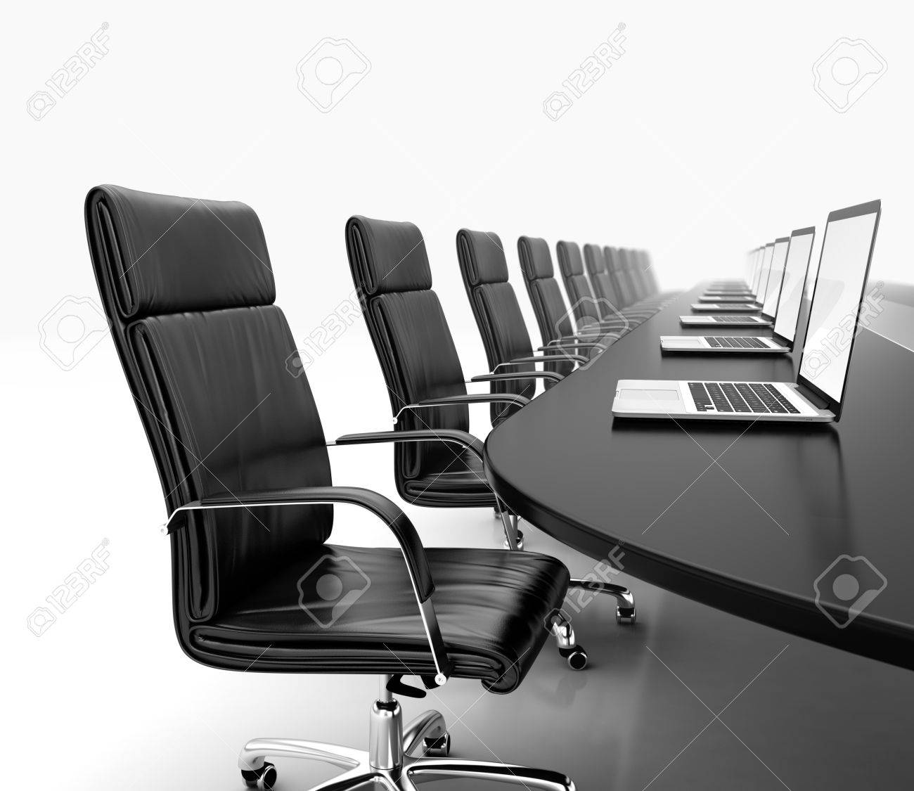3d render of conference room with black table black leather chairs and laptops stock photo