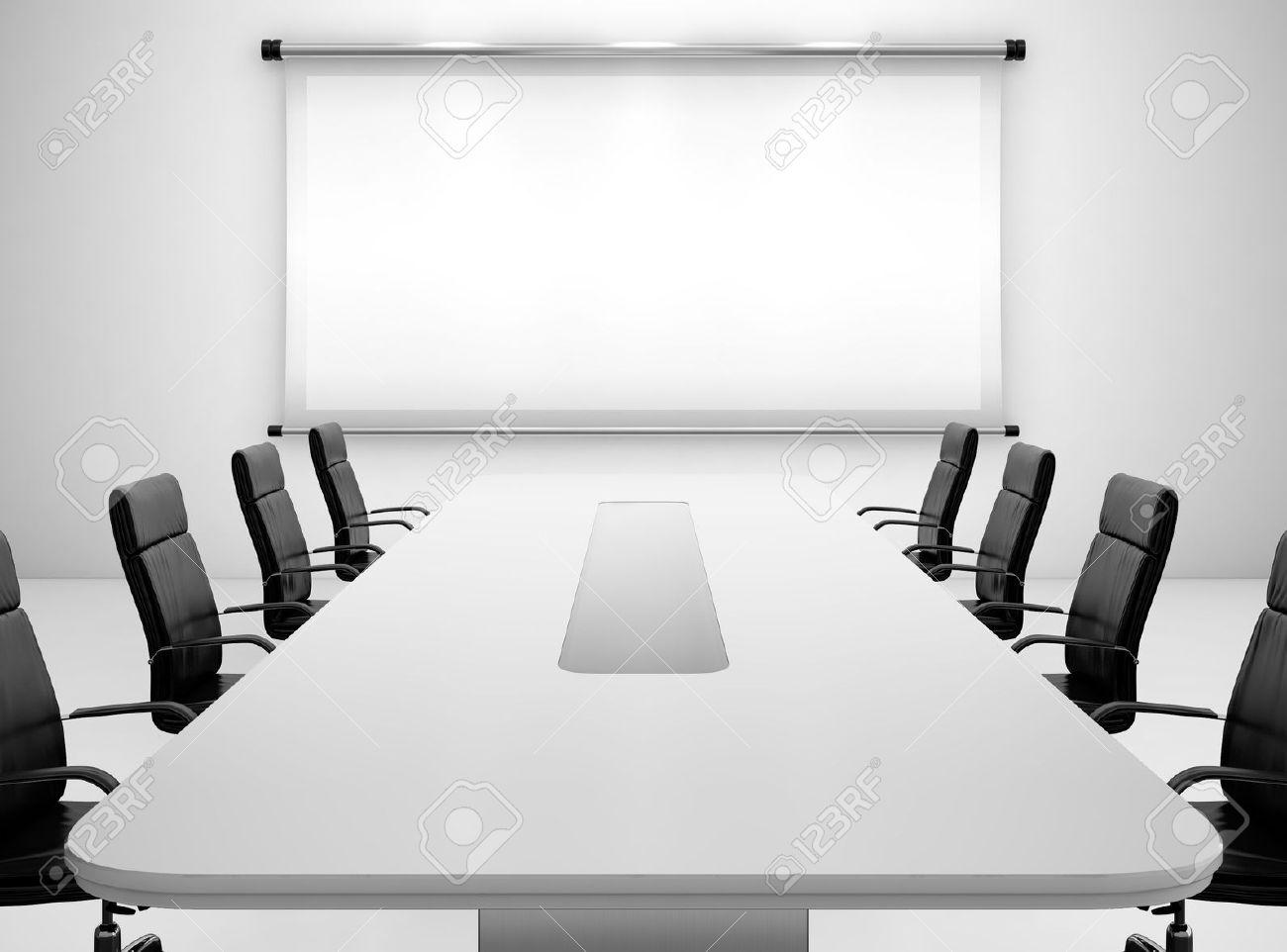 3d Render De Salle De Reunion Avec Ecran De Projection Et Table De