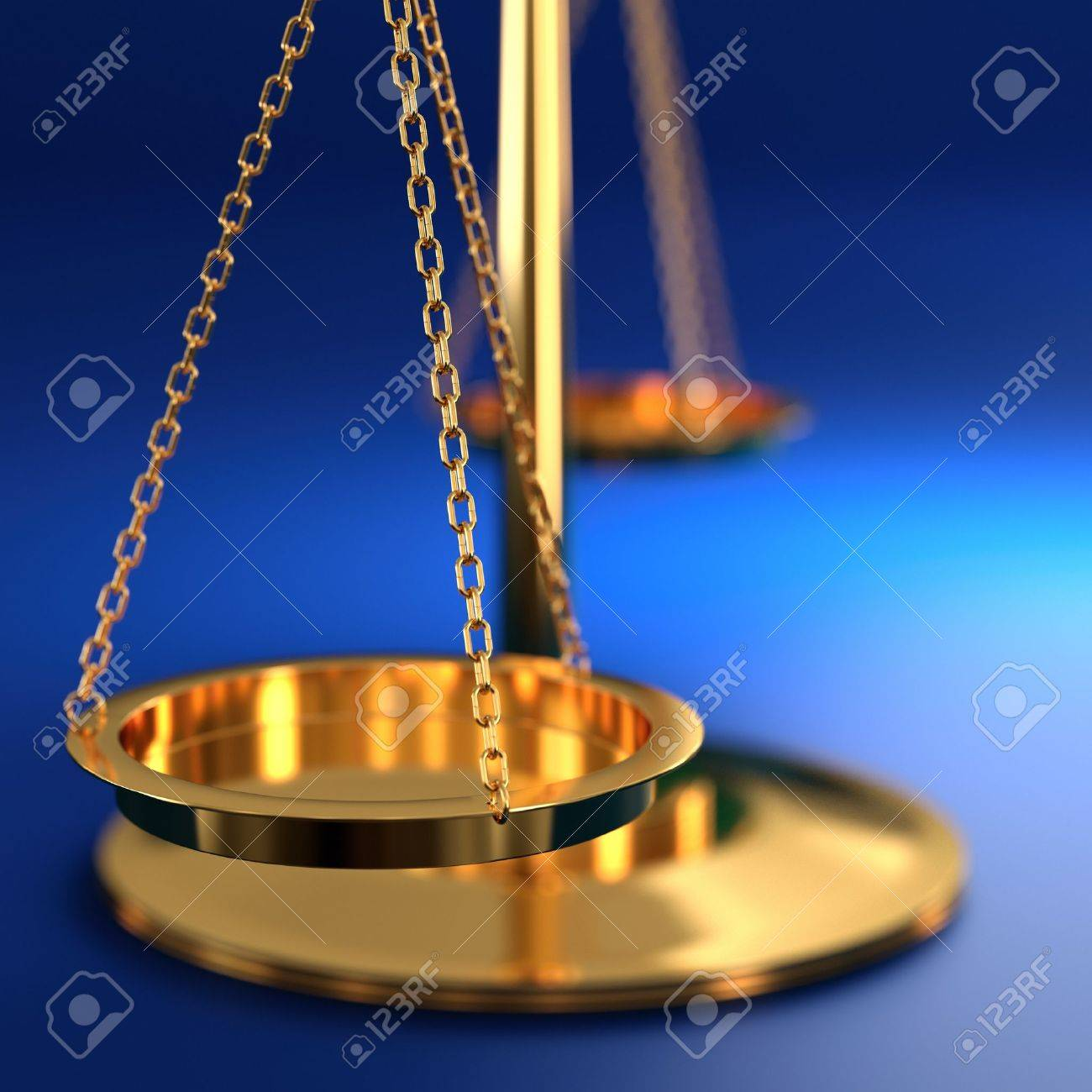 3D illustration of scales of justice on blue background Stock Photo - 17439059